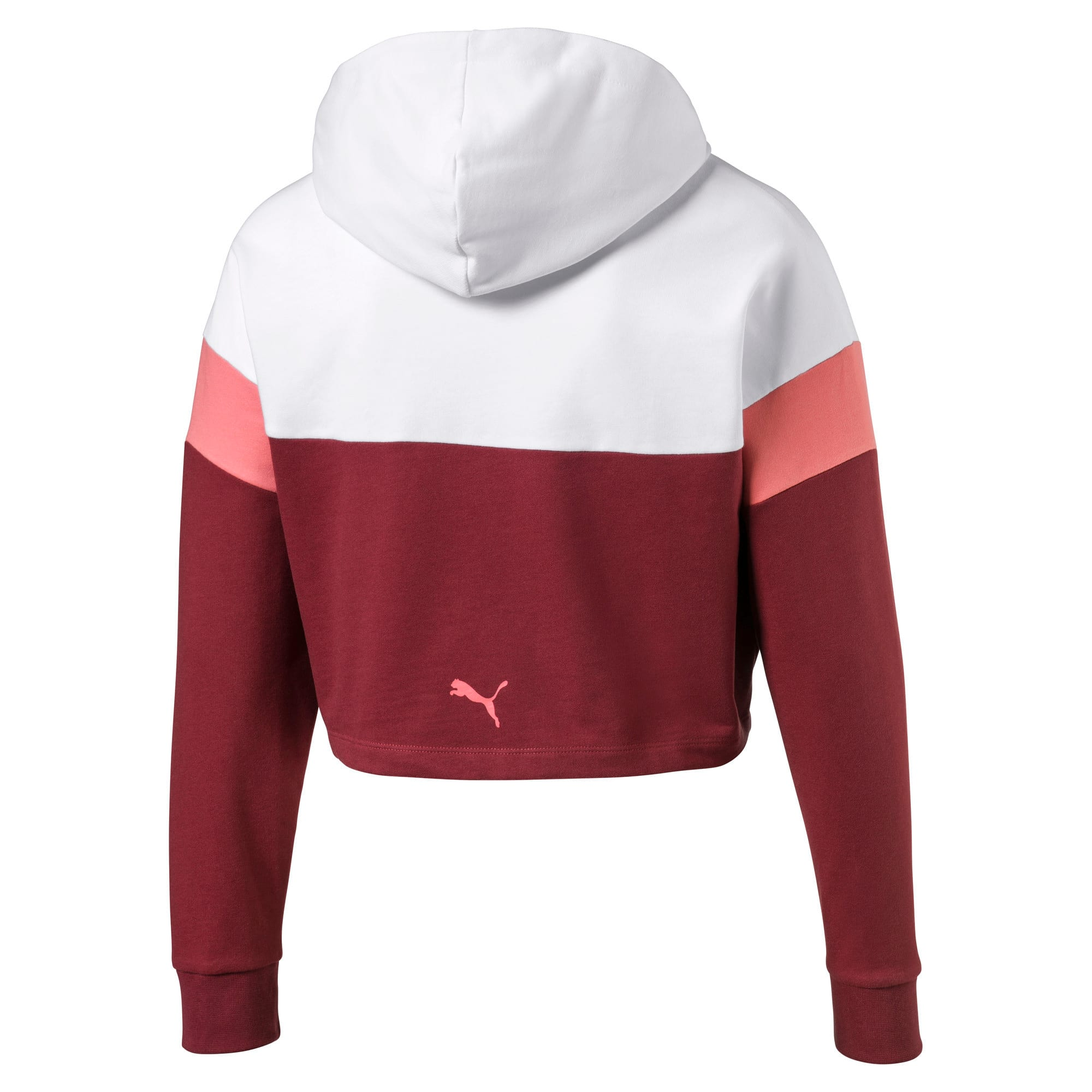 Thumbnail 2 of Cropped Colour-Blocked Girls' Hoodie, Burnt Russet-Puma White, medium