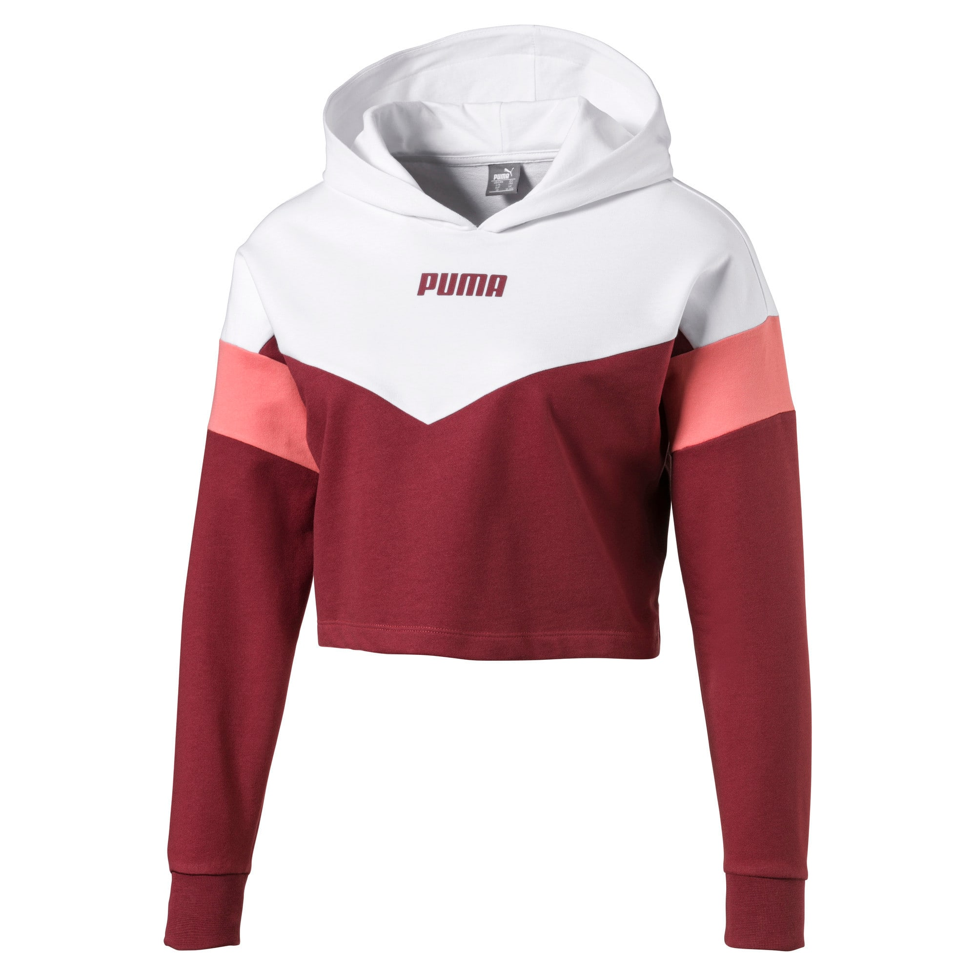 Thumbnail 1 of Cropped Colour-Blocked Girls' Hoodie, Burnt Russet-Puma White, medium