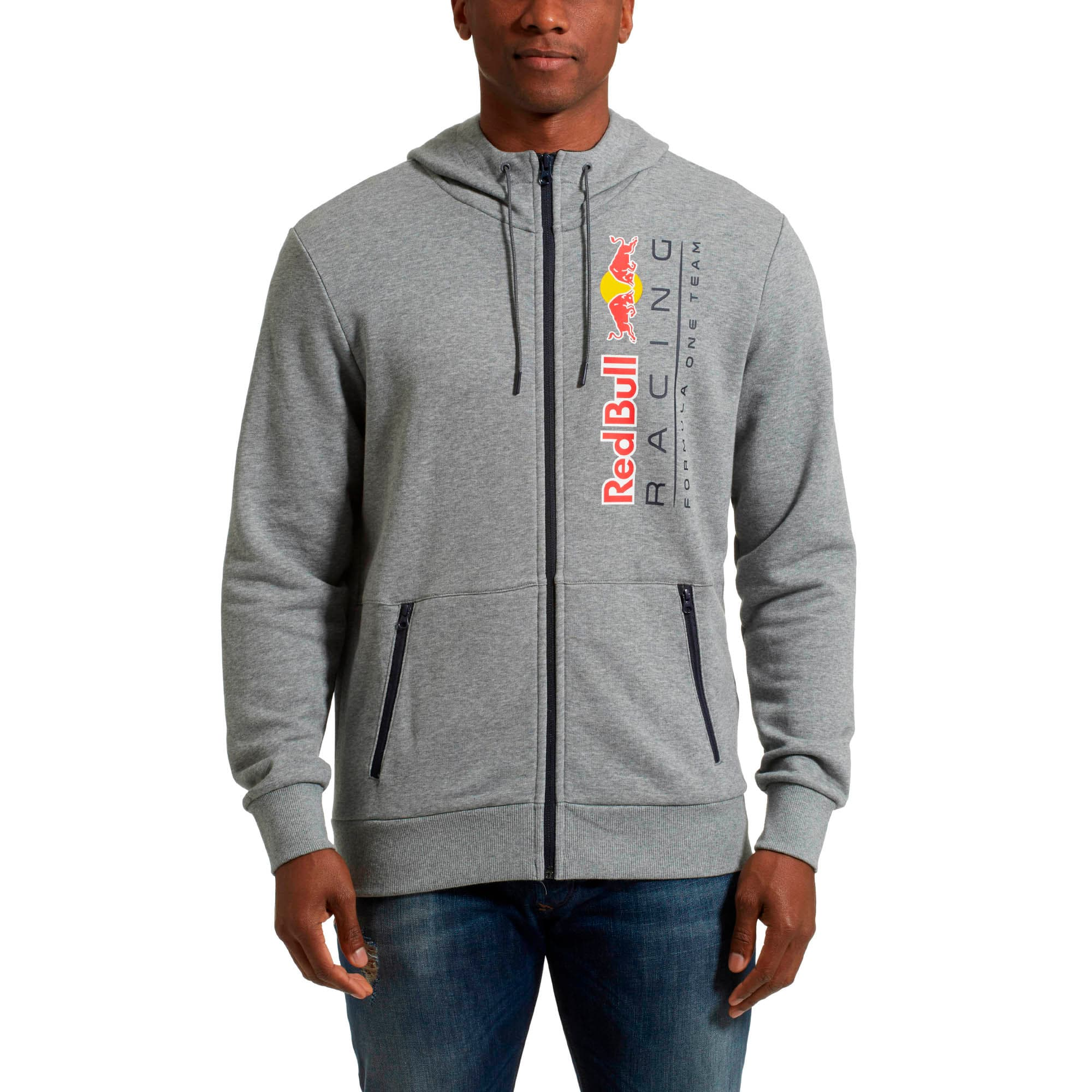 Thumbnail 1 of Red Bull Racing Lifestyle Men's Hooded Sweat Jacket, Medium Gray Heather - 1, medium
