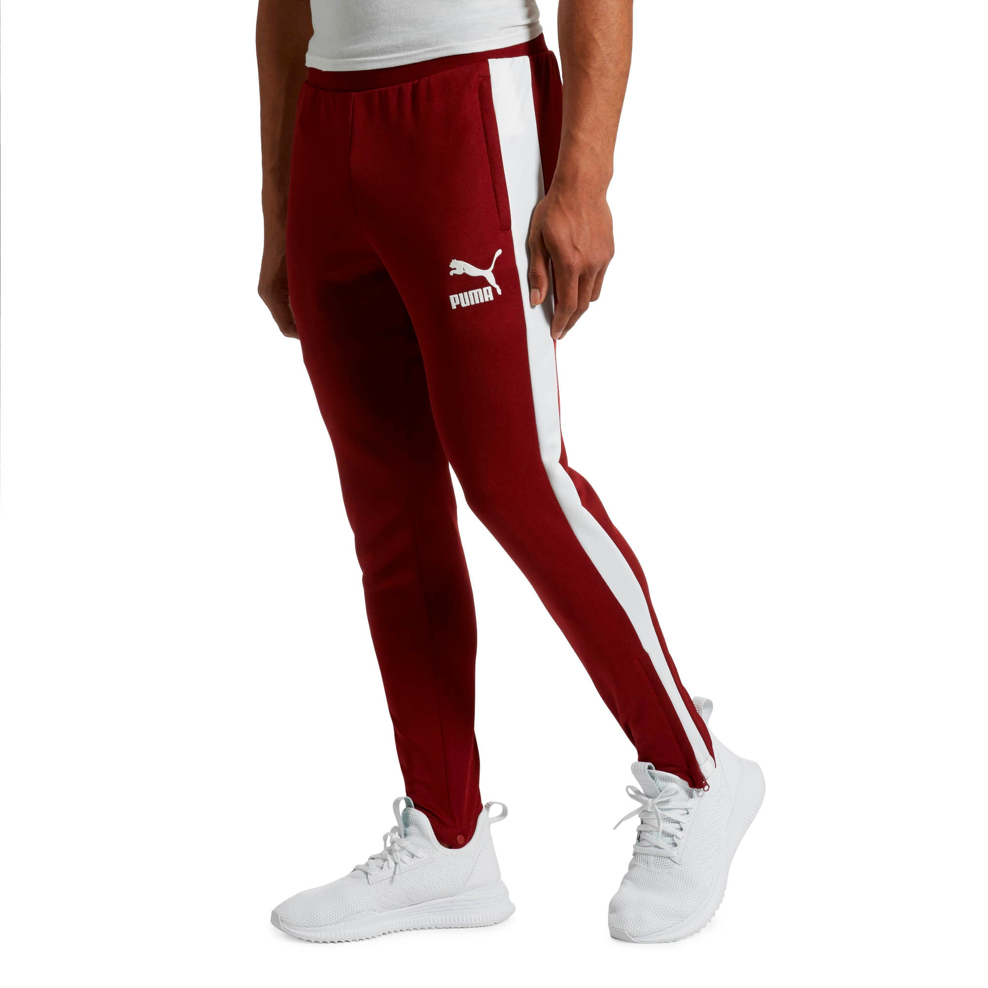 Thumbnail 2 of T7 Vintage Men's Track Pants, Pomegranate-Puma White, medium