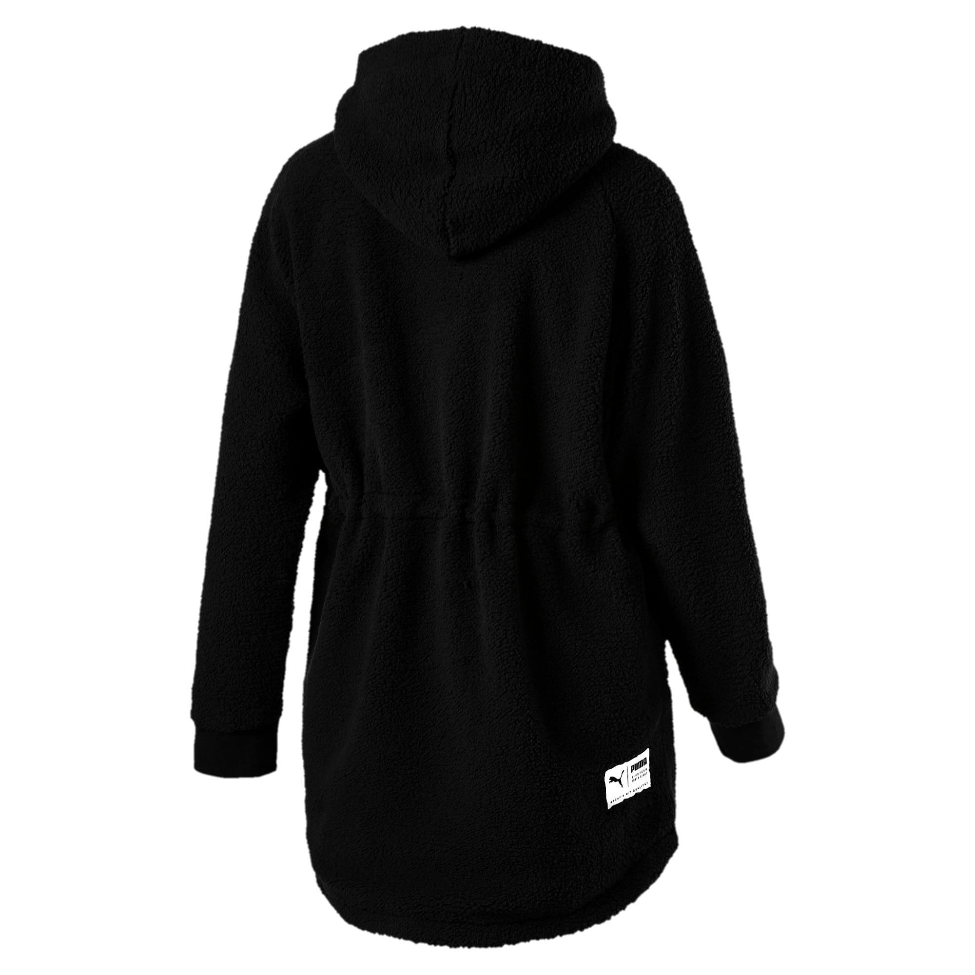 Thumbnail 3 of Downtown Winterised Full Zip Women's Sherpa Hoodie, Puma Black, medium