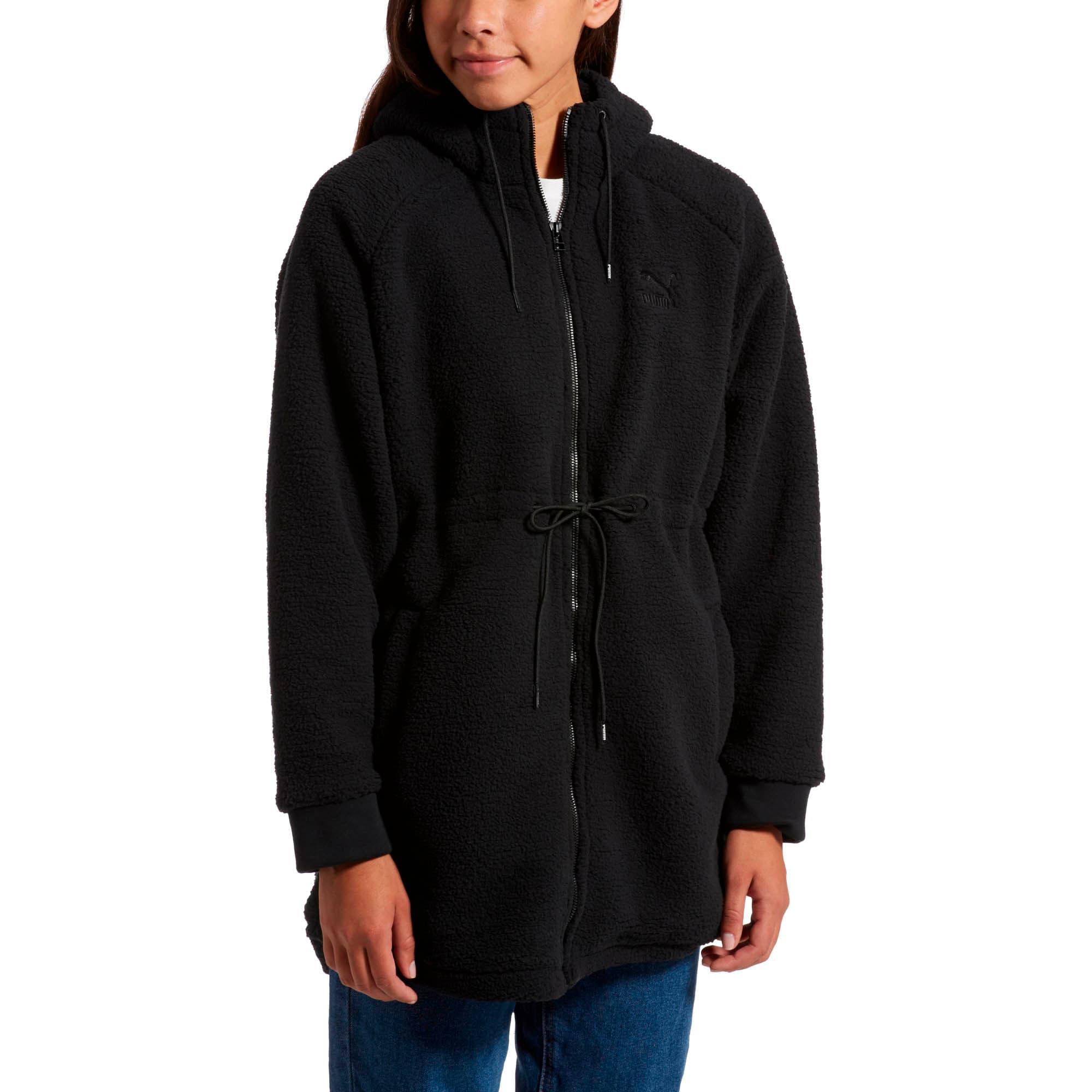 Thumbnail 2 of Downtown Winterised Full Zip Women's Sherpa Hoodie, Puma Black, medium