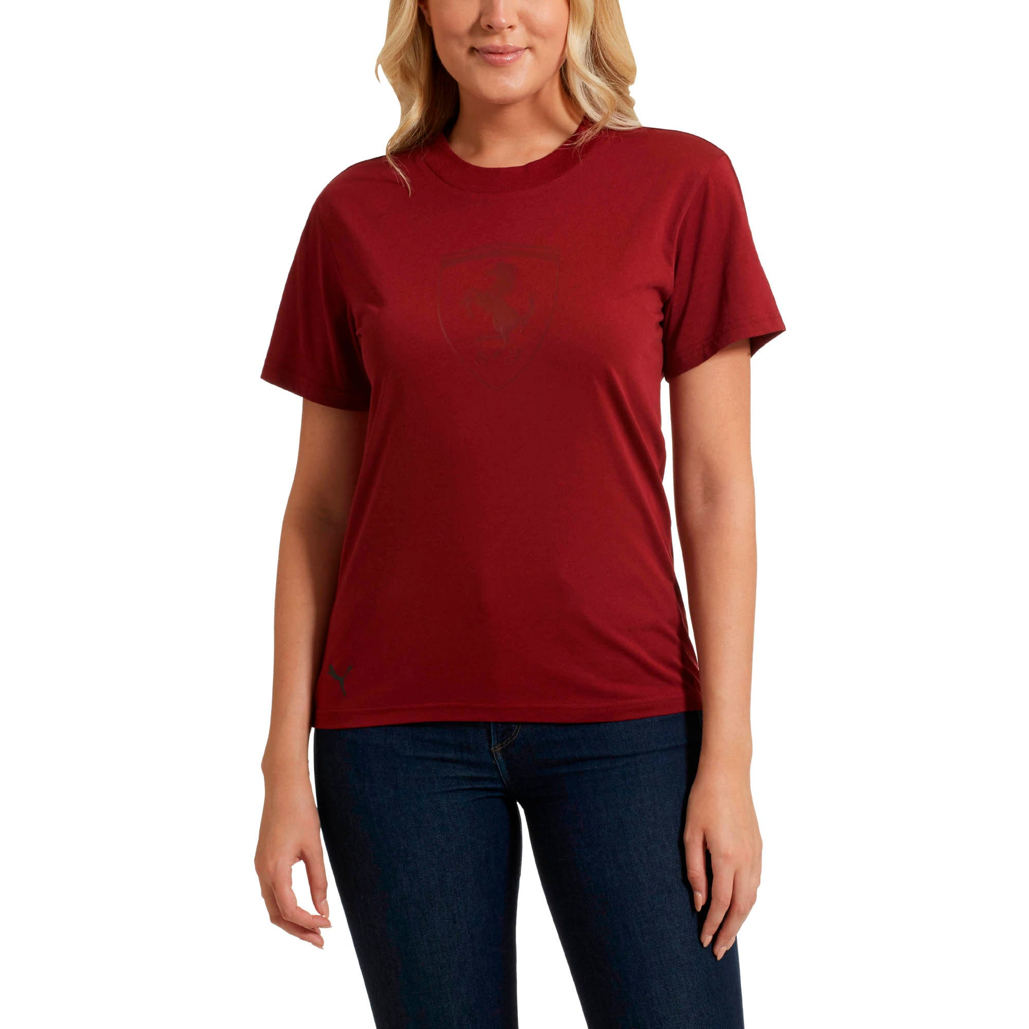 Thumbnail 2 of Scuderia Ferrari Lifestyle Women's Big Shield Tee, Pomegranate, medium