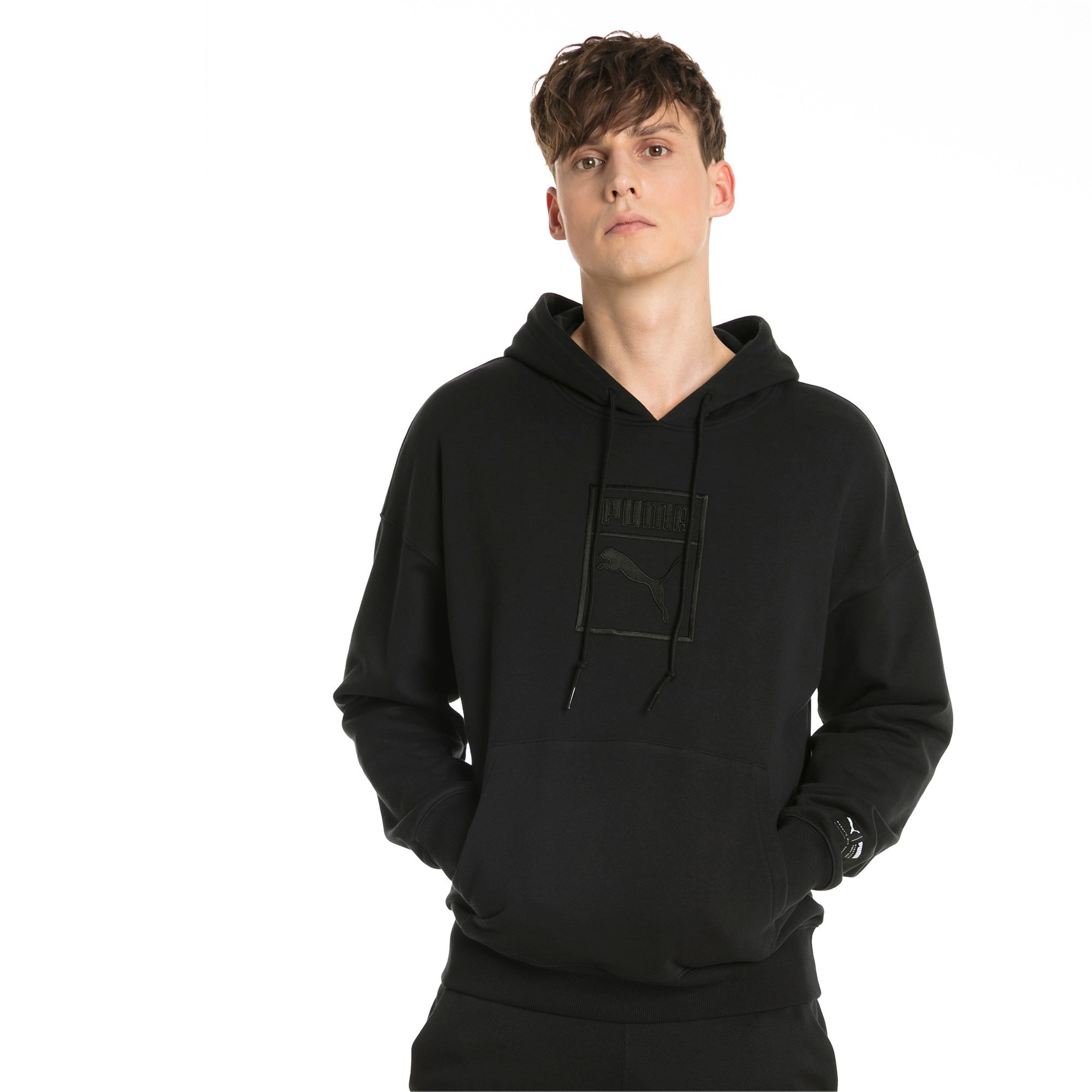 Downtown Oversize Men's Hoodie, Puma Black, large