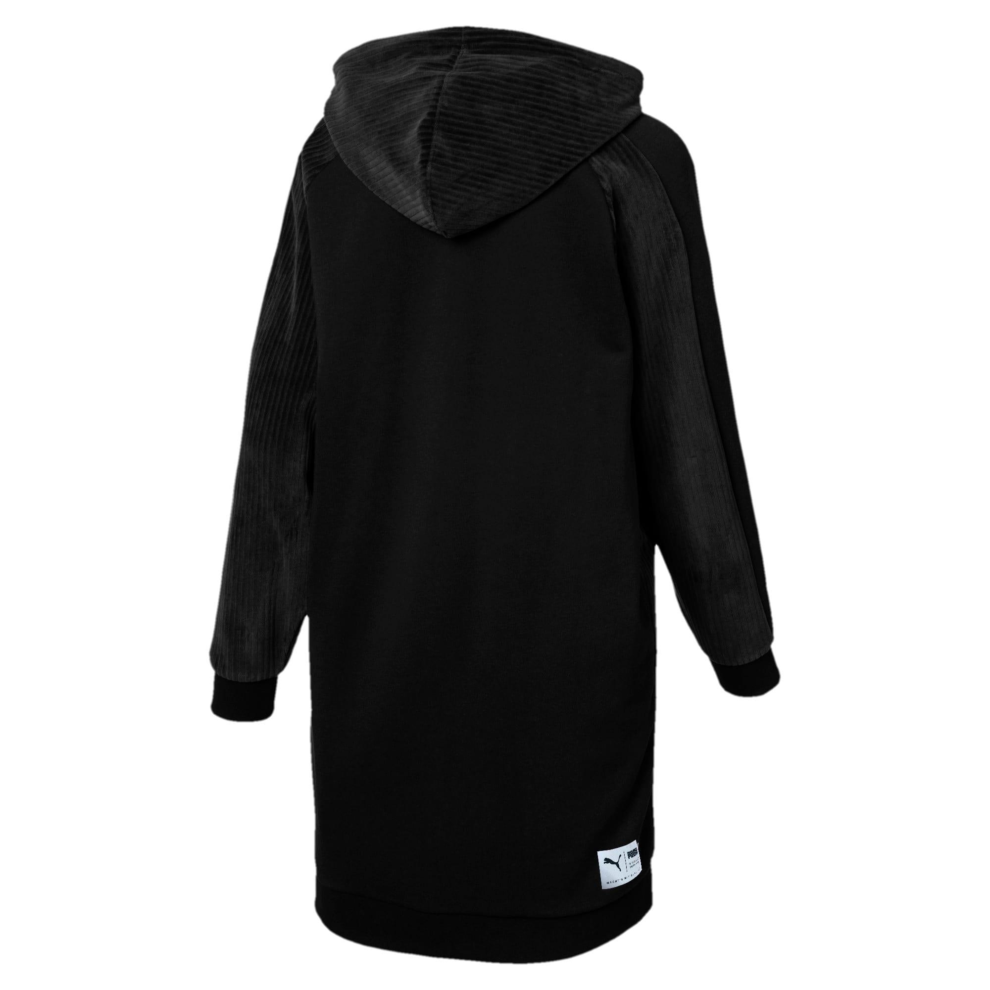 Thumbnail 4 of Downtown Long Sleeve Hooded Women's Dress, Cotton Black, medium
