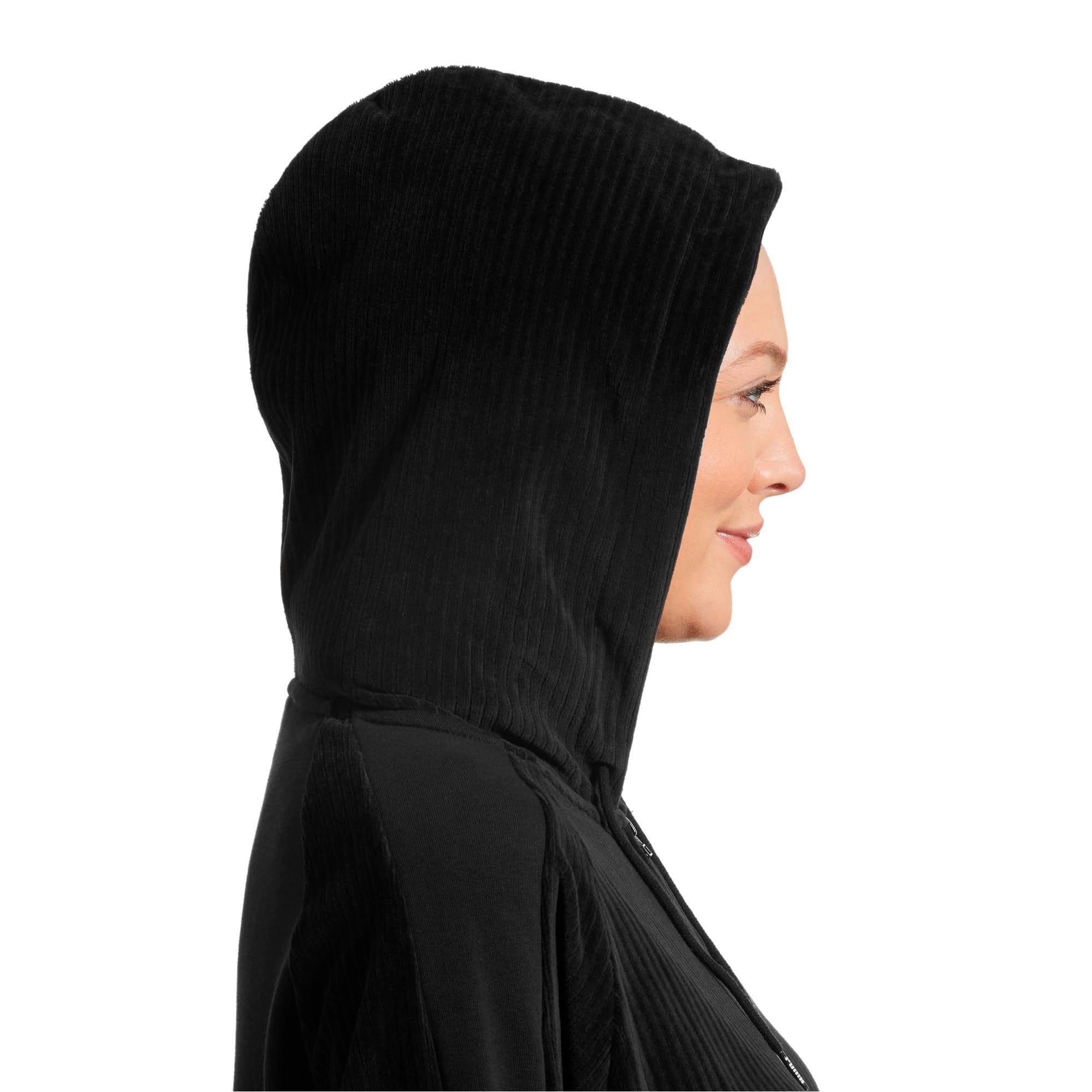Thumbnail 6 of Downtown Long Sleeve Hooded Women's Dress, Cotton Black, medium