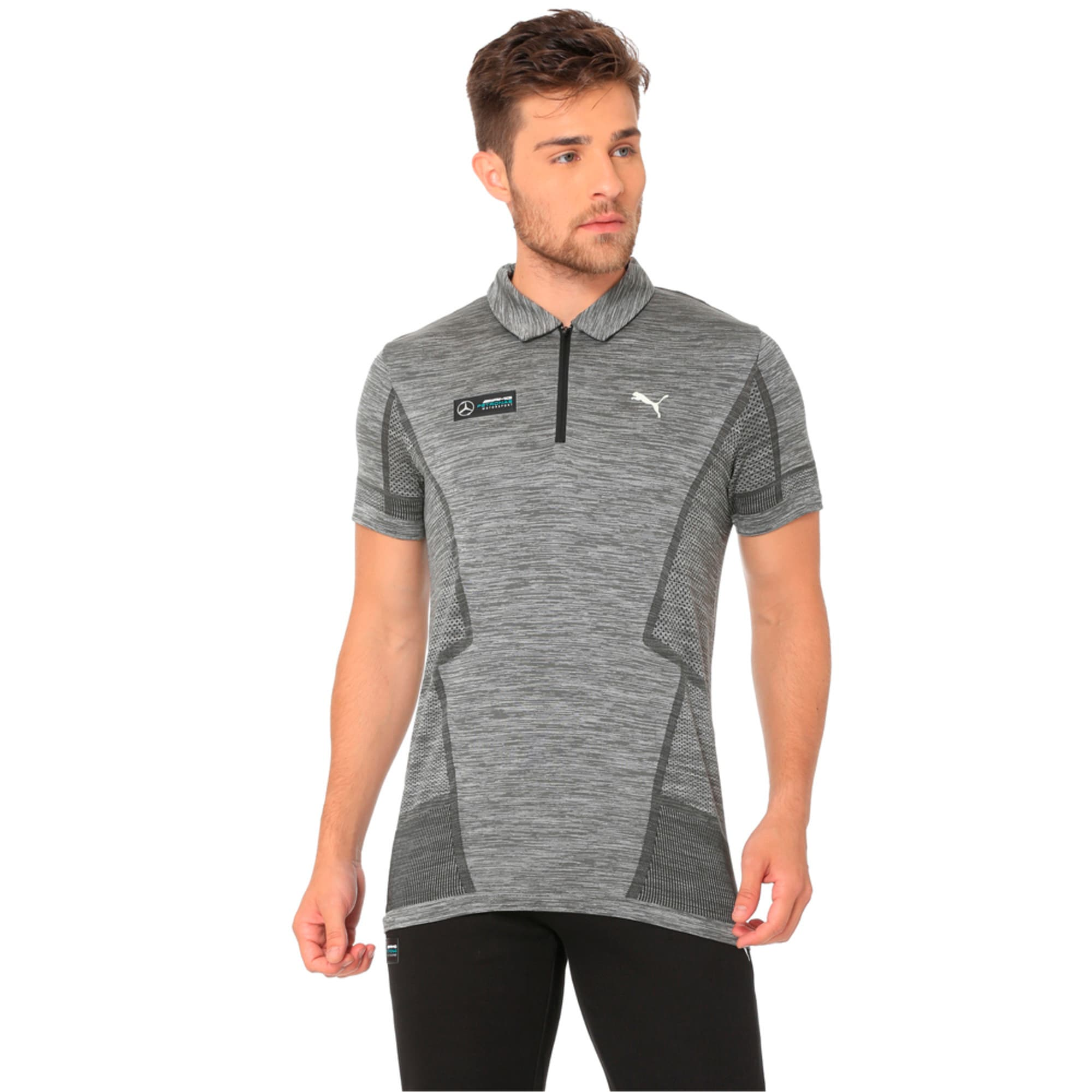 MERCEDES AMG PETRONAS Men's evoKNIT Polo, Medium Gray Heather, large-IND