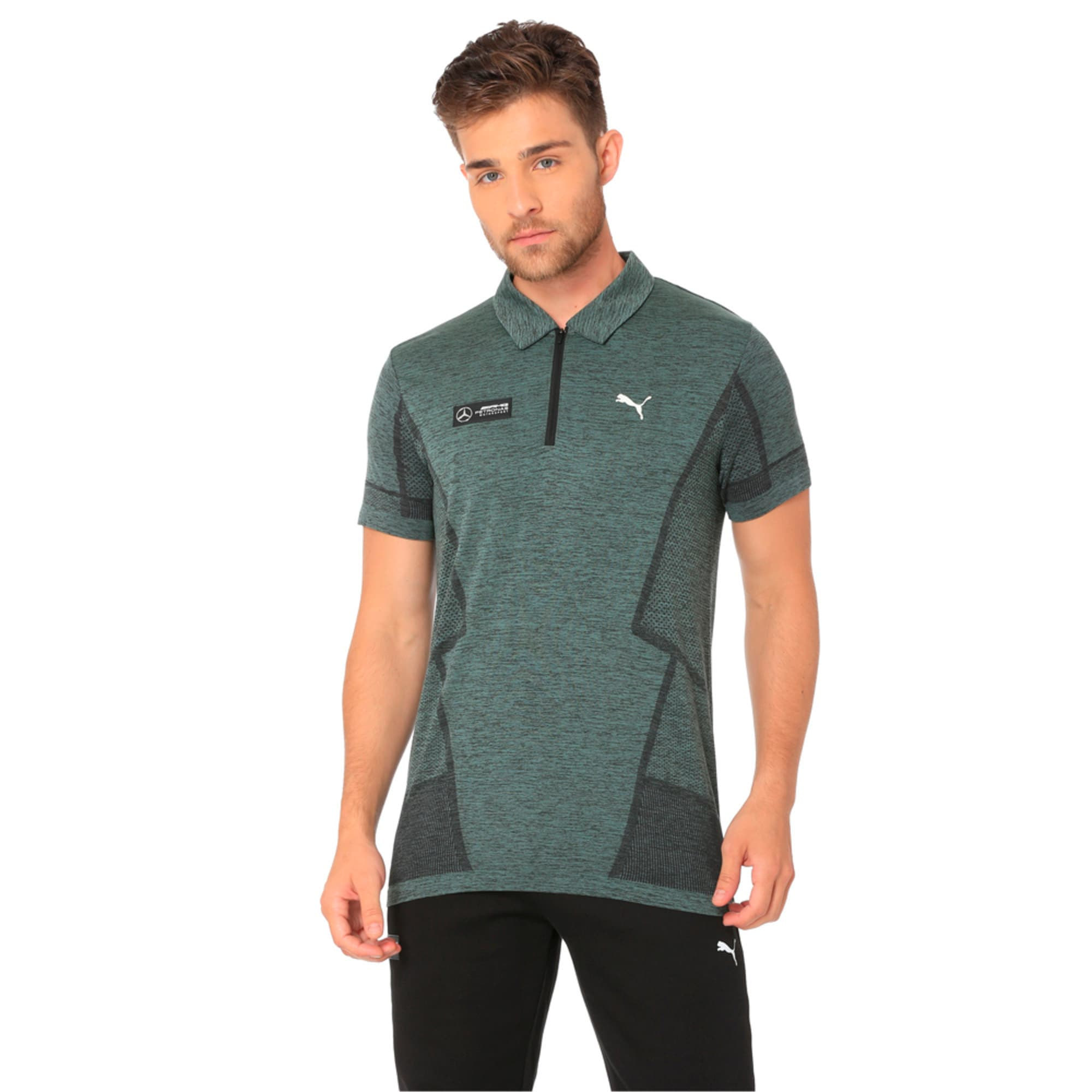 Thumbnail 2 of MERCEDES AMG PETRONAS Men's evoKNIT Polo, Laurel Wreath, medium-IND