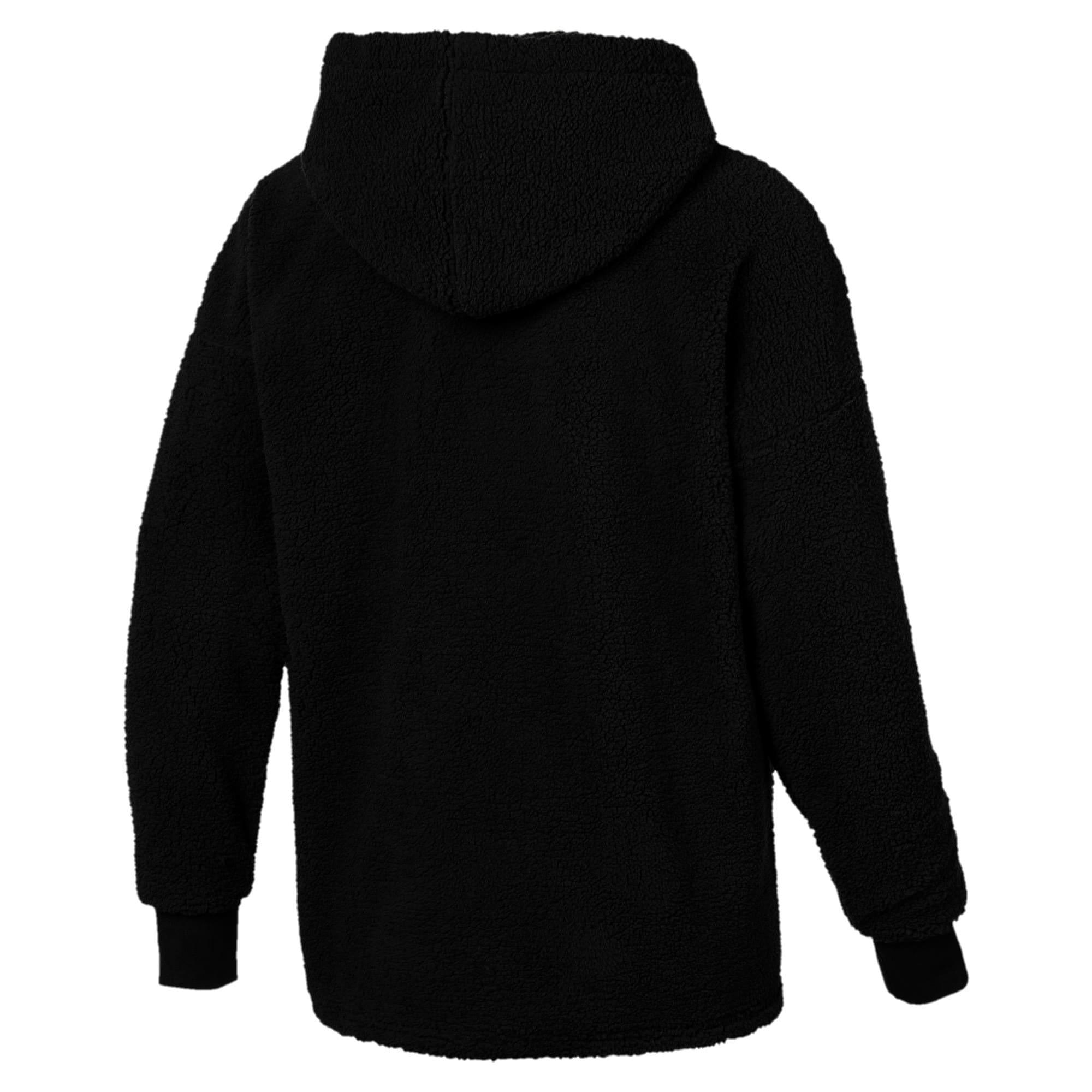 Thumbnail 3 of Downtown Sherpa Half Zip Men's Hoodie, Puma Black, medium