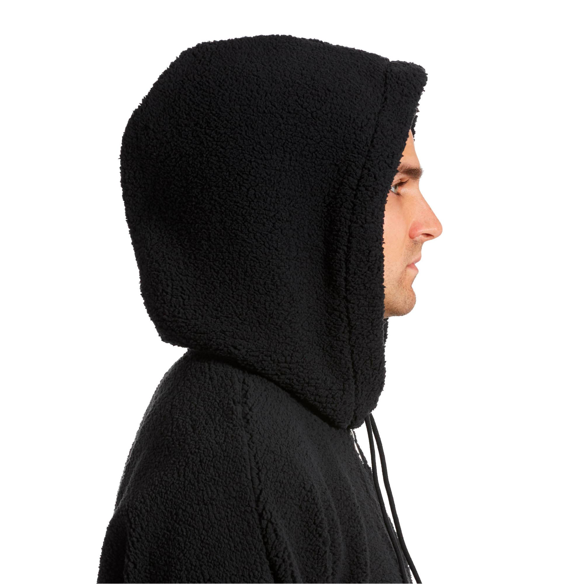 Thumbnail 4 of Downtown Sherpa Half Zip Men's Hoodie, Puma Black, medium