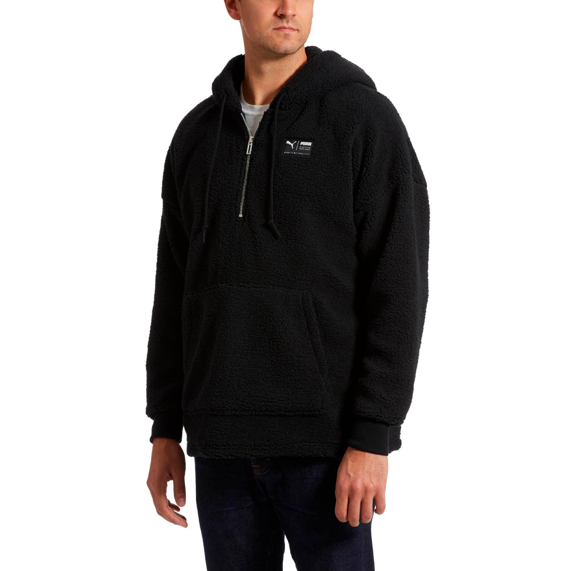 Thumbnail 2 of Downtown Sherpa Half Zip Men's Hoodie, Puma Black, medium