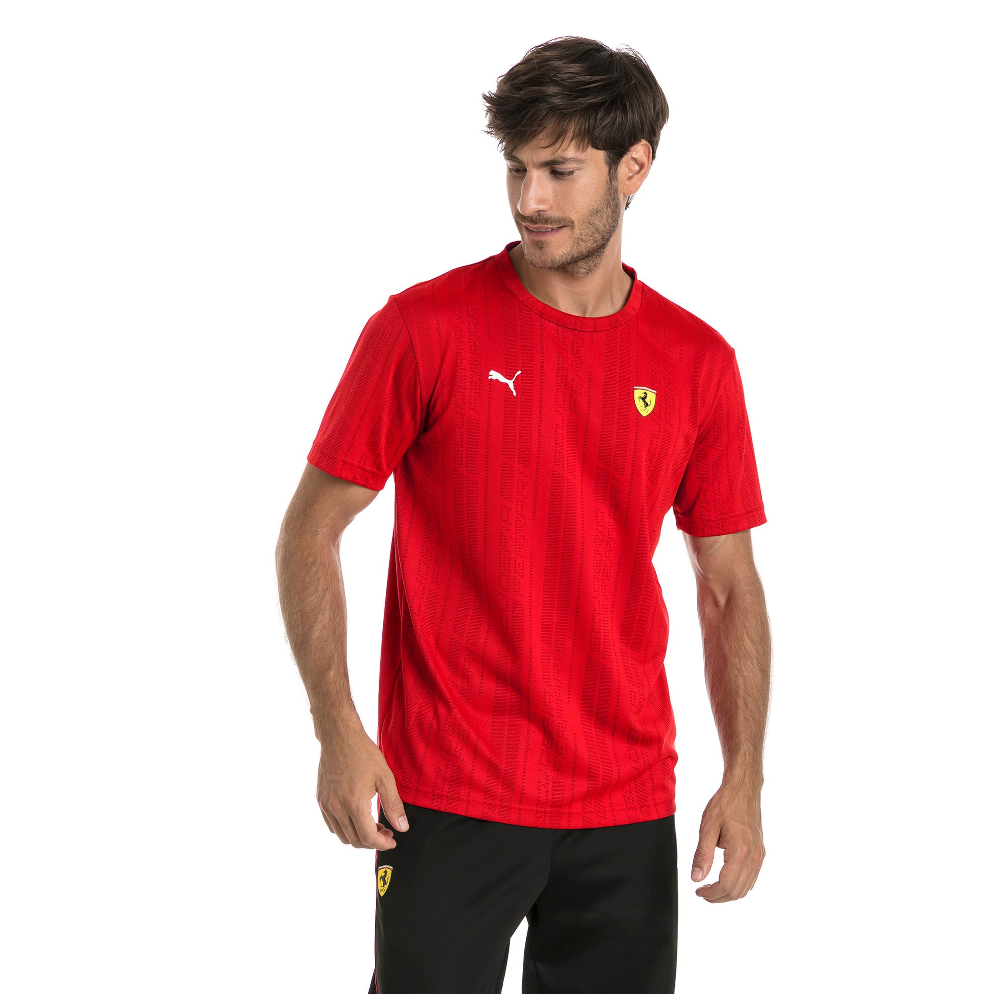 Thumbnail 2 of Ferrari Men's Jacquard T-Shirt, Rosso Corsa, medium
