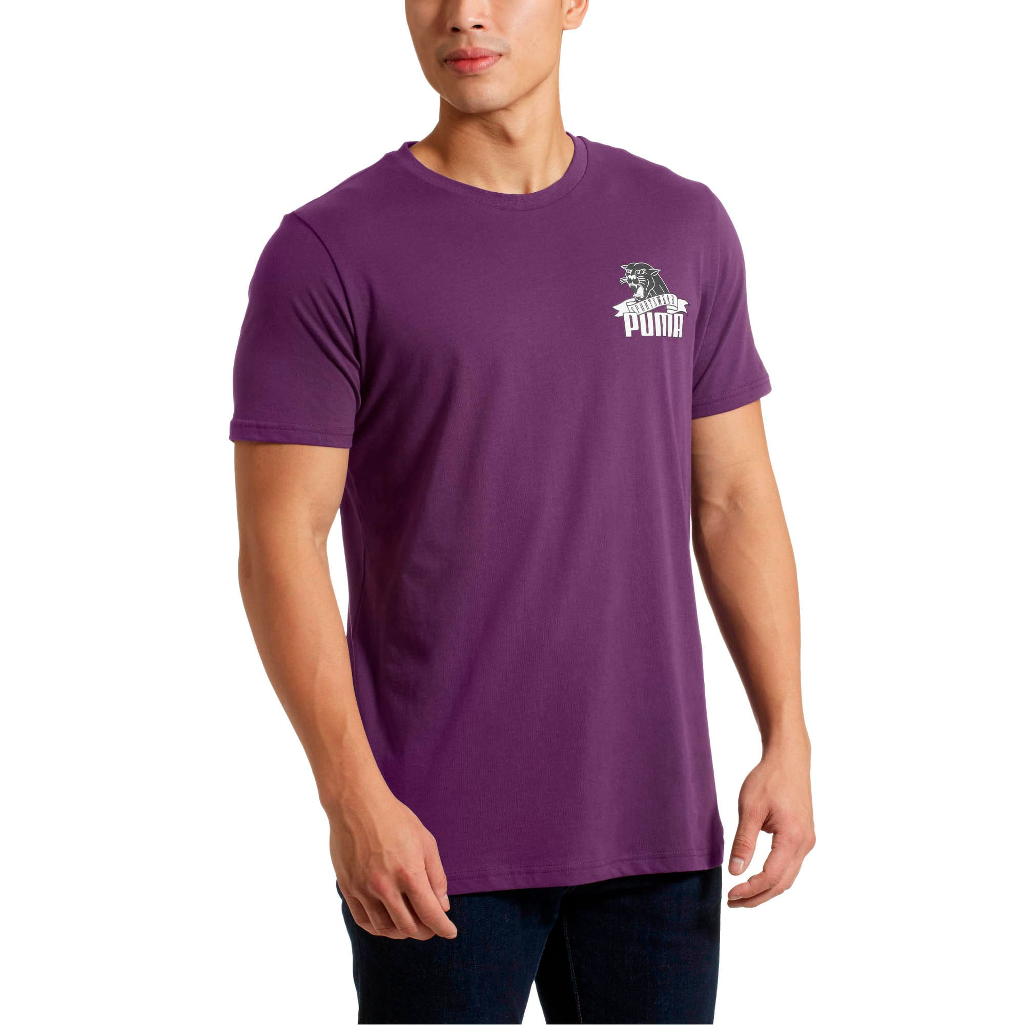 Thumbnail 2 of Graphic Downtown Flock Print T-Shirt, Shadow Purple, medium