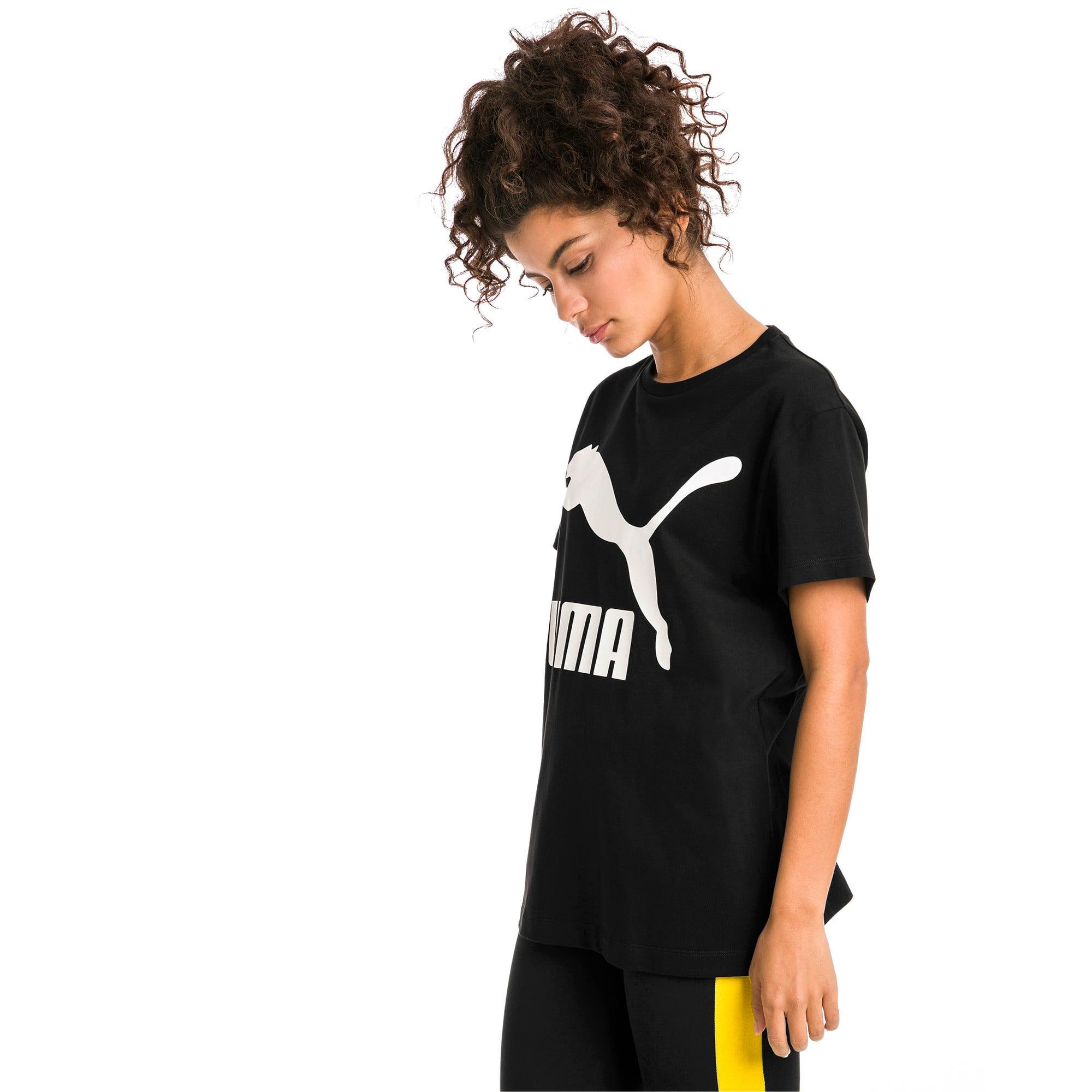 Thumbnail 2 of Short Sleeve Women's Tee, Cotton Black-white, medium