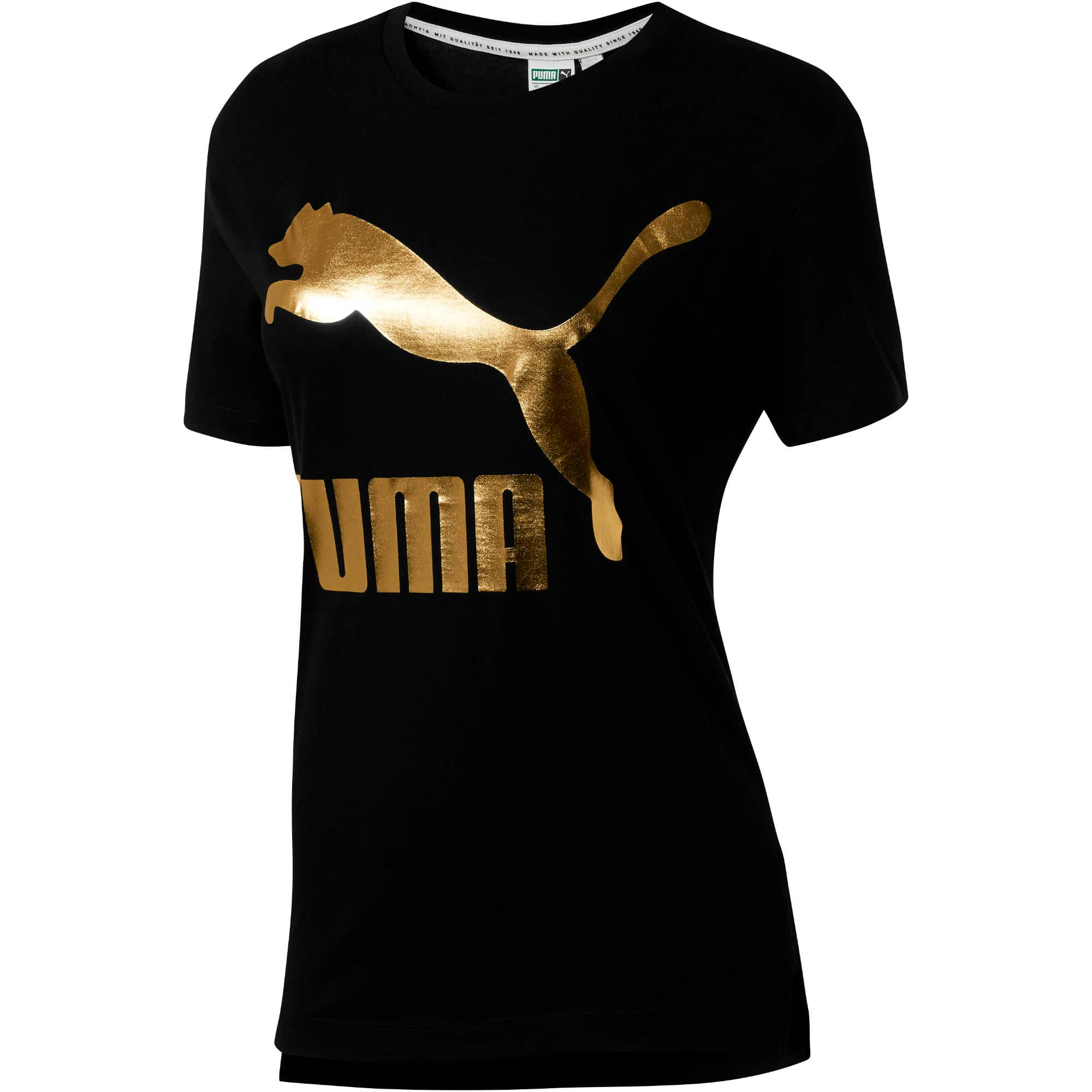Miniatura 2 de Camiseta Classics con logotipo para mujer, Cotton Black-gold, mediano