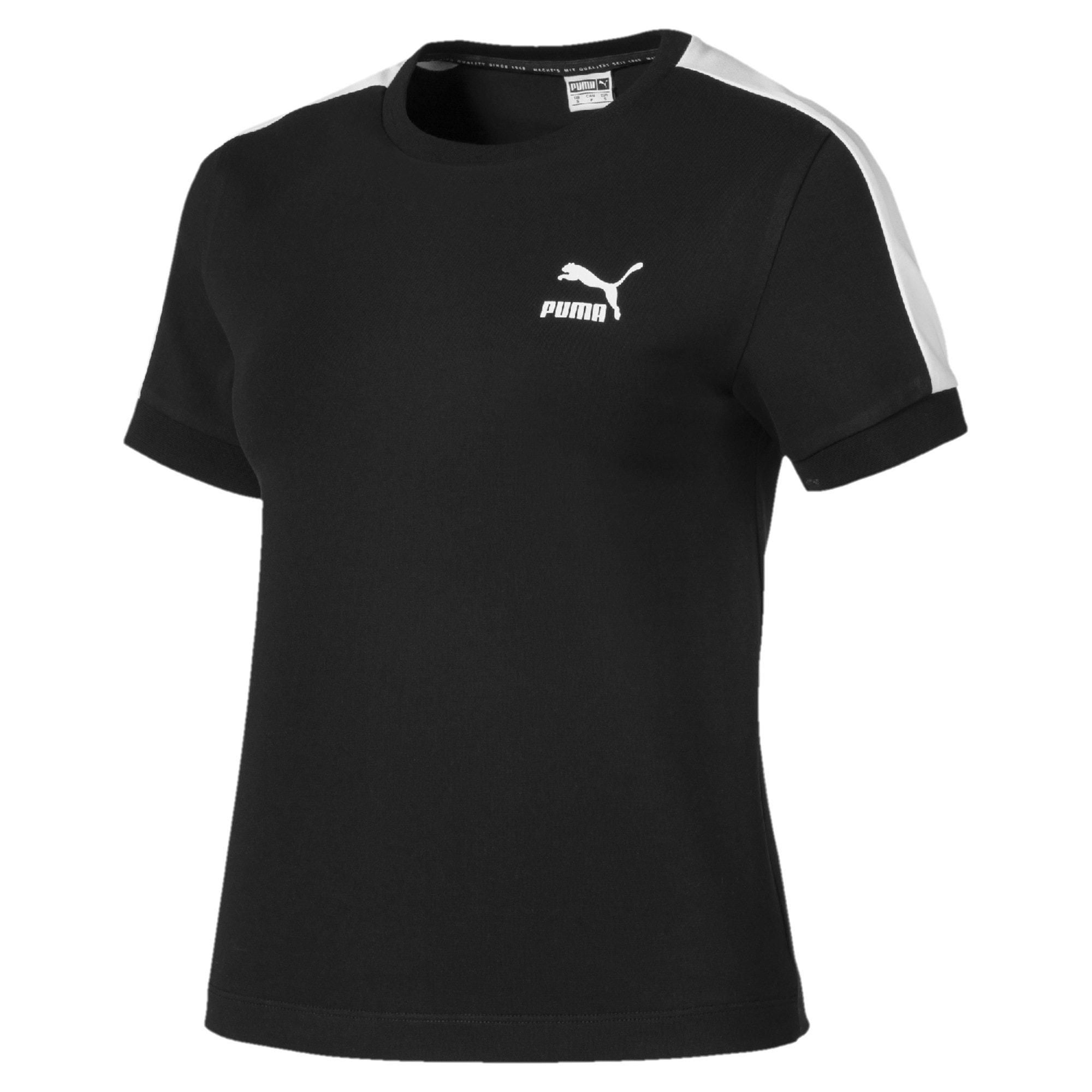 Thumbnail 4 of T-Shirt Classics T7 étroit pour femme, Cotton Black-puma white, medium