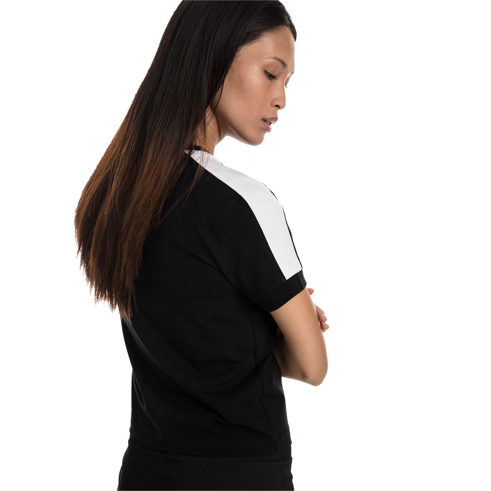 Thumbnail 2 of T-Shirt Classics T7 étroit pour femme, Cotton Black-puma white, medium