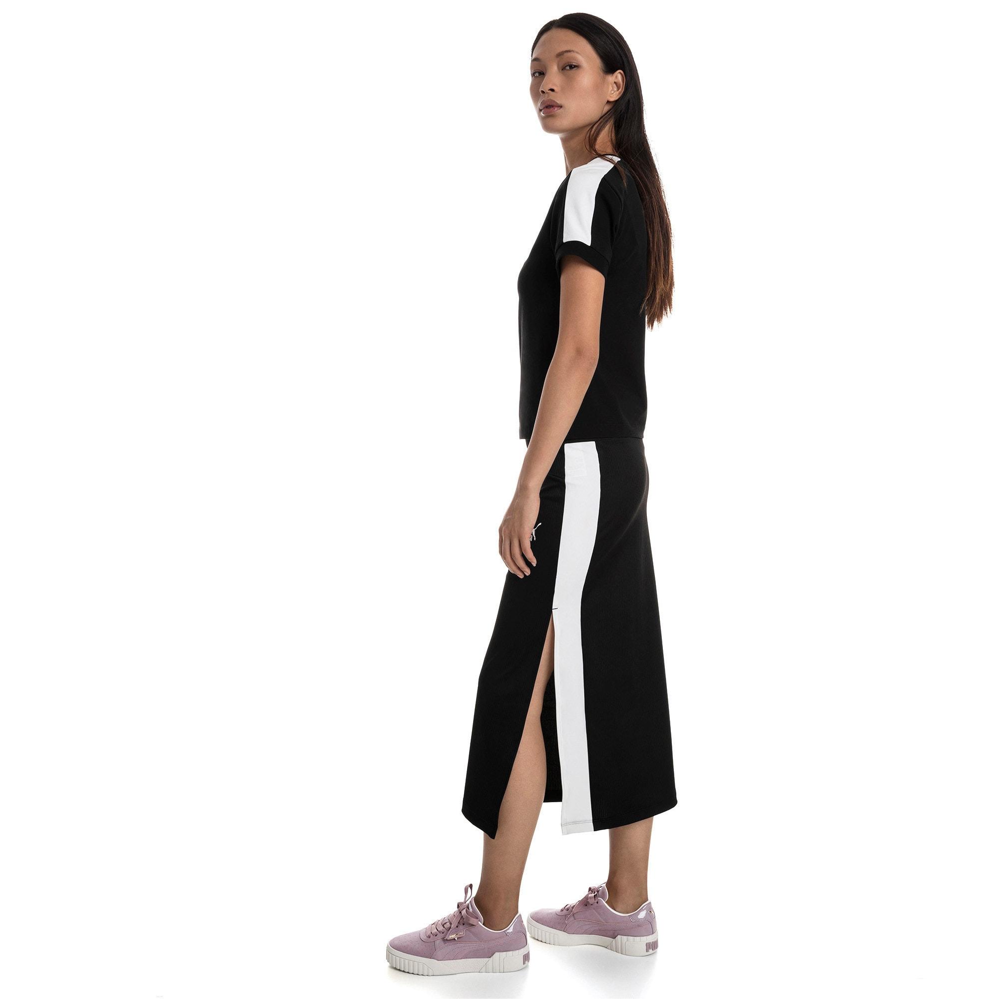 Thumbnail 3 of T-Shirt Classics T7 étroit pour femme, Cotton Black-puma white, medium
