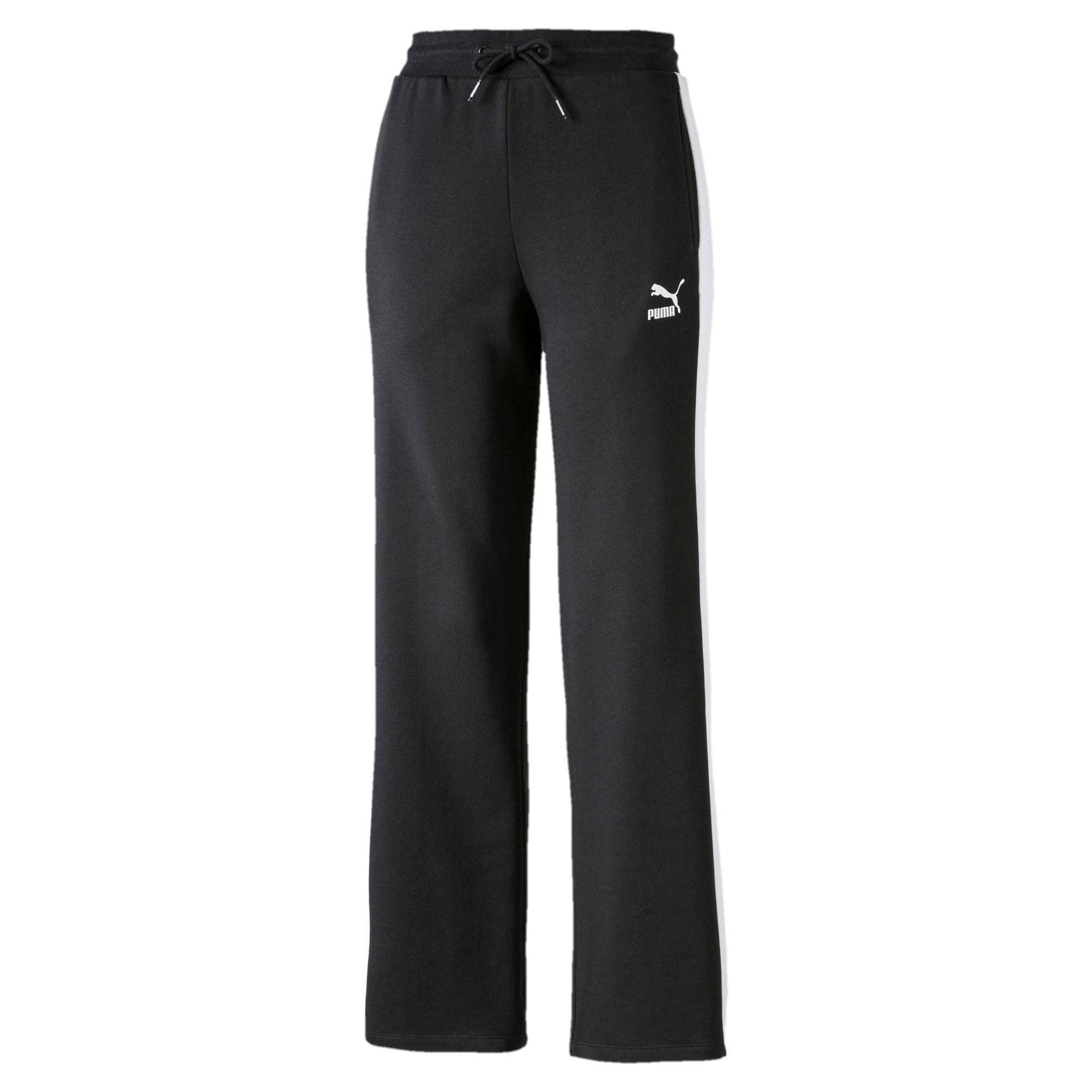 Thumbnail 1 of Pantalon à jambe droite Classics T7 pour femme, Cotton Black-Puma White, medium