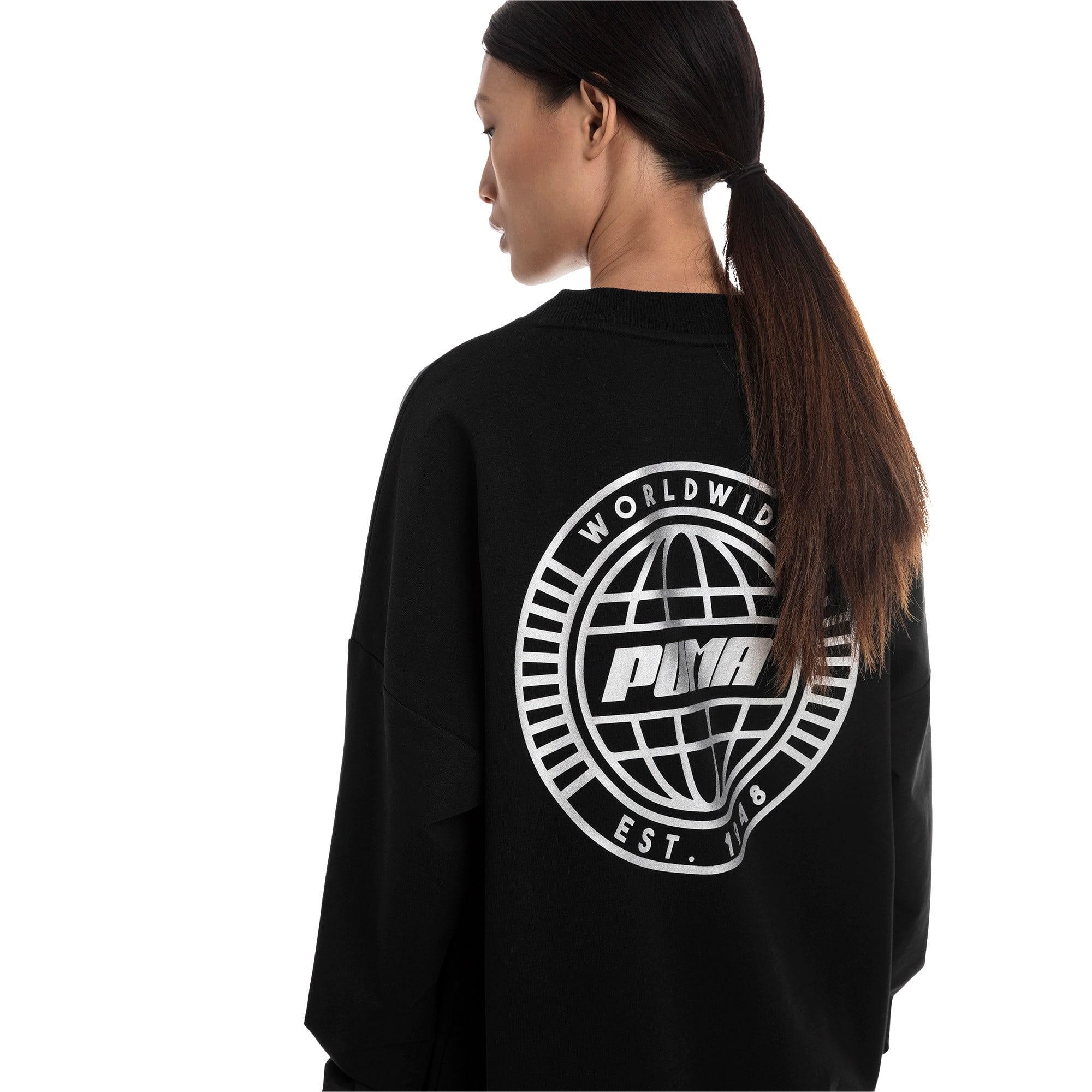 Thumbnail 2 of Trailblazer Women's Long Crewneck Sweatshirt, Cotton Black, medium