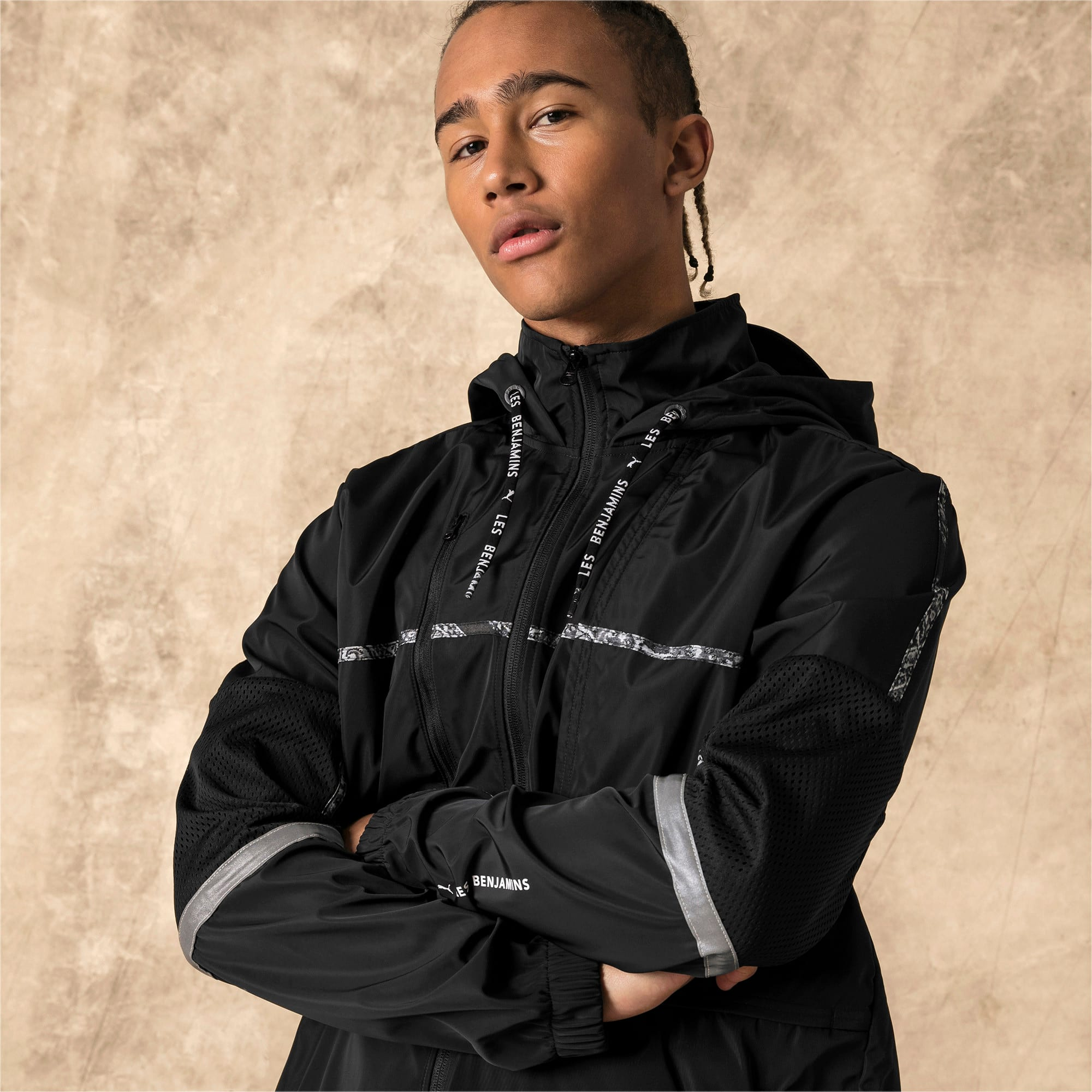 Thumbnail 2 of PUMA x LES BENJAMINS Men's Windbreaker, Puma Black, medium
