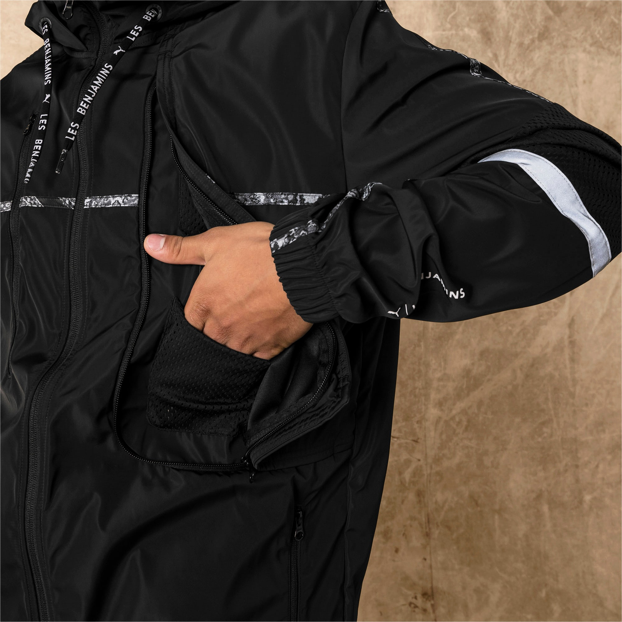 Thumbnail 6 of PUMA x LES BENJAMINS Men's Windbreaker, Puma Black, medium