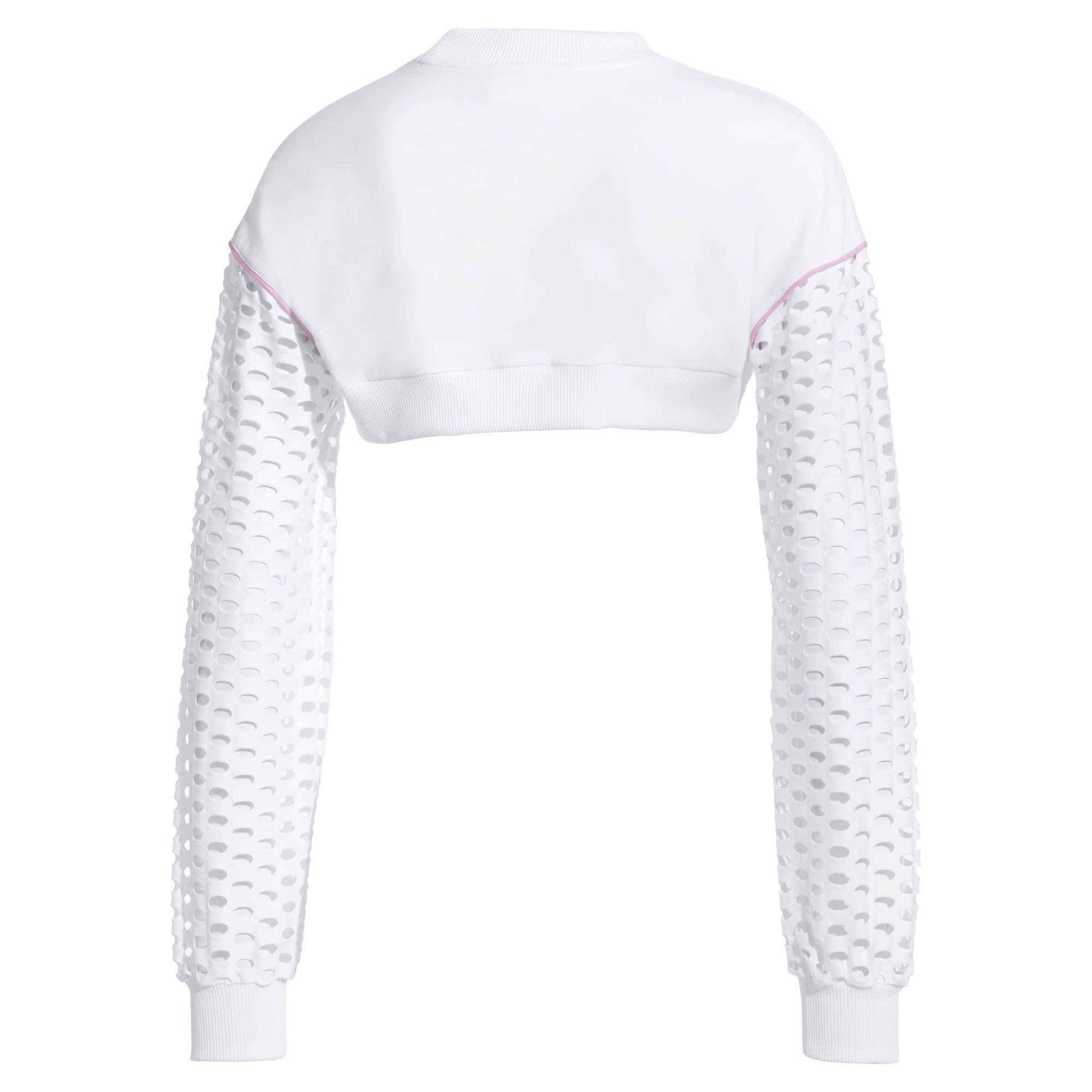 Thumbnail 5 of PUMA x SOPHIA WEBSTER Women's Cropped Crewneck Sweatshirt, Puma White, medium