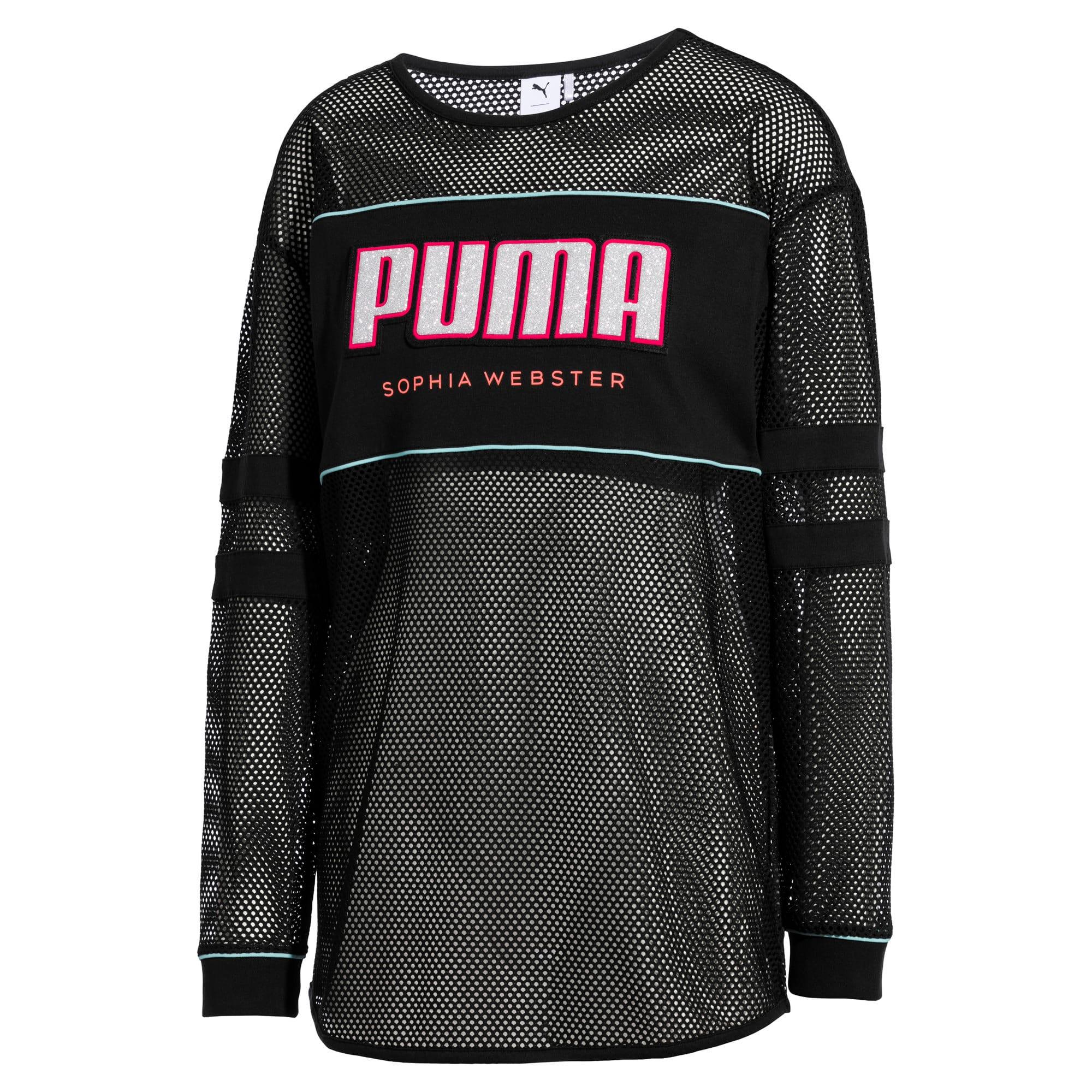 Miniatura 5 de Camiseta de malla de manga largaPUMA x SOPHIA WEBSTER para mujer, Puma Black, mediano