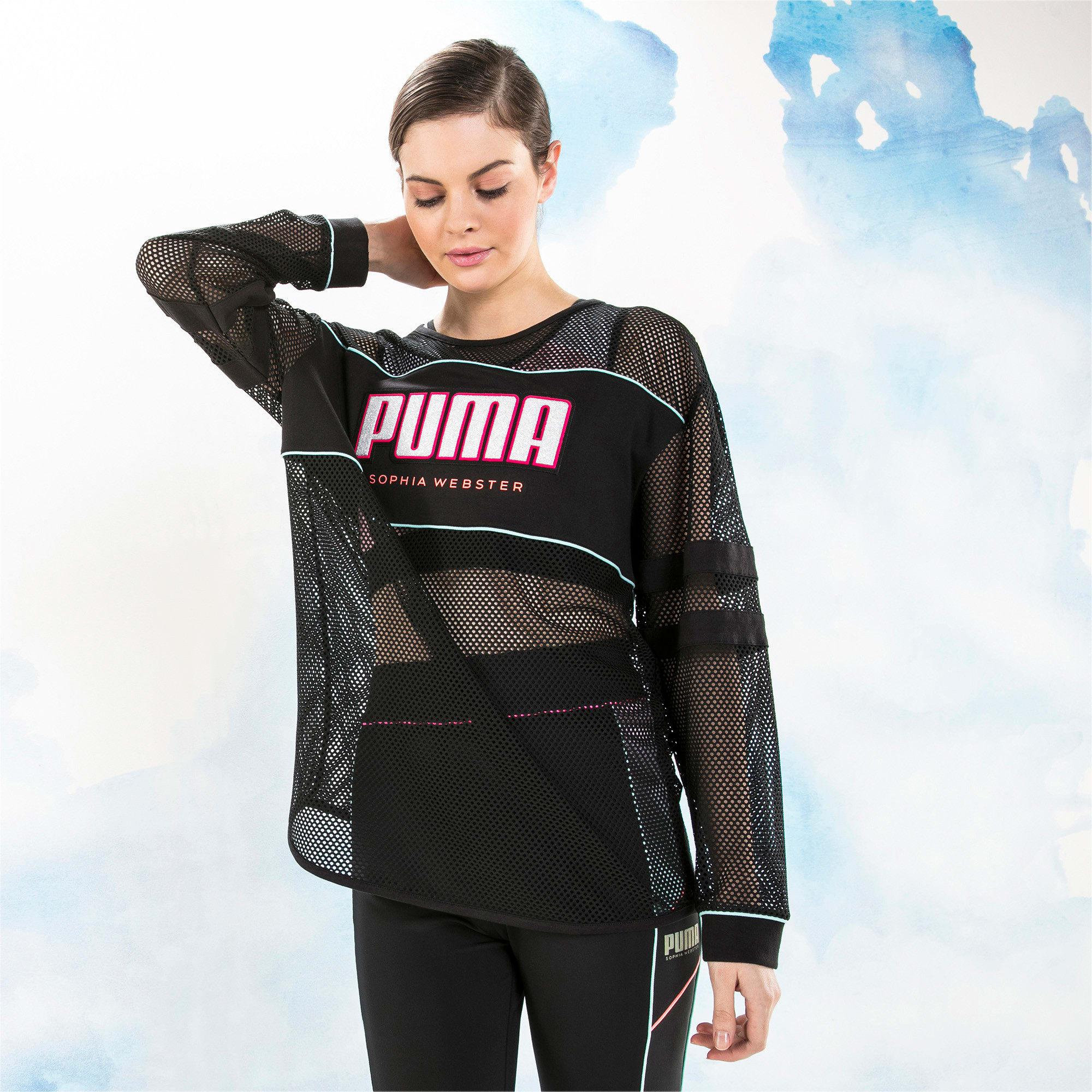 Miniatura 1 de Camiseta de malla de manga largaPUMA x SOPHIA WEBSTER para mujer, Puma Black, mediano