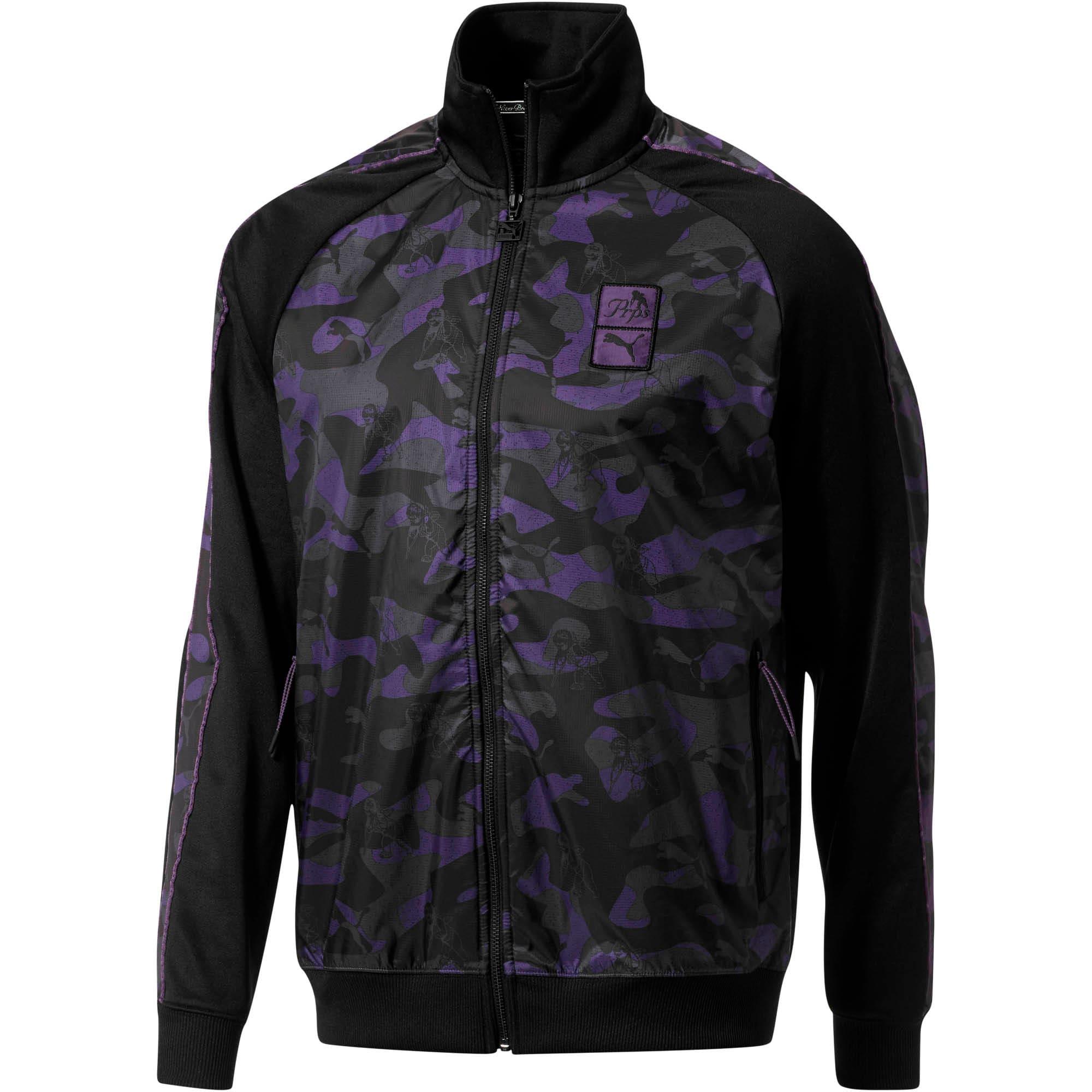 Thumbnail 1 of PUMA x PRPS Opulent Men's T7 Track Jacket, Puma Black-AOP Camo, medium