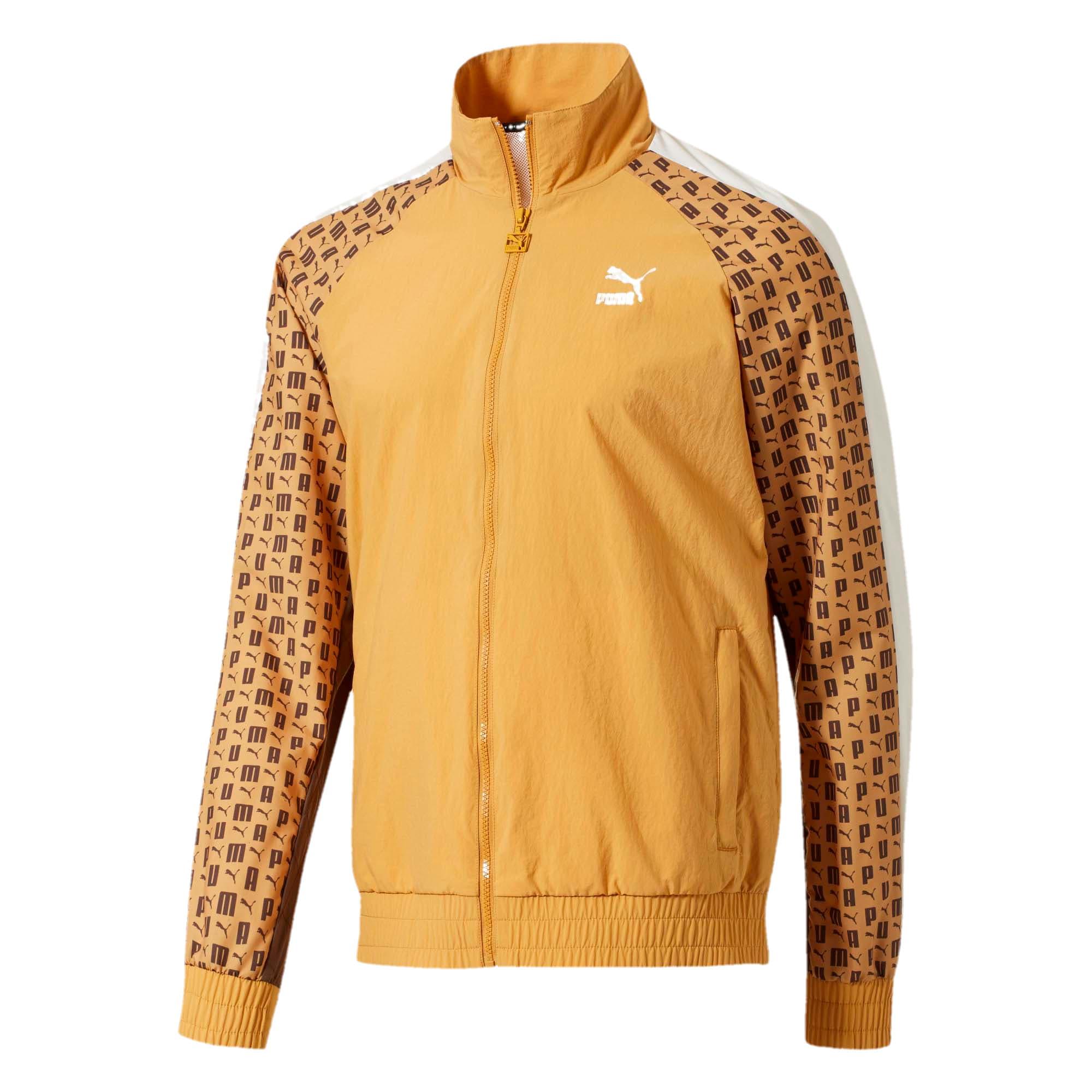Thumbnail 1 of Lux Woven T7 Track Jacket, Hny Mstrd-Whspr Wht-Chc Brwn, medium
