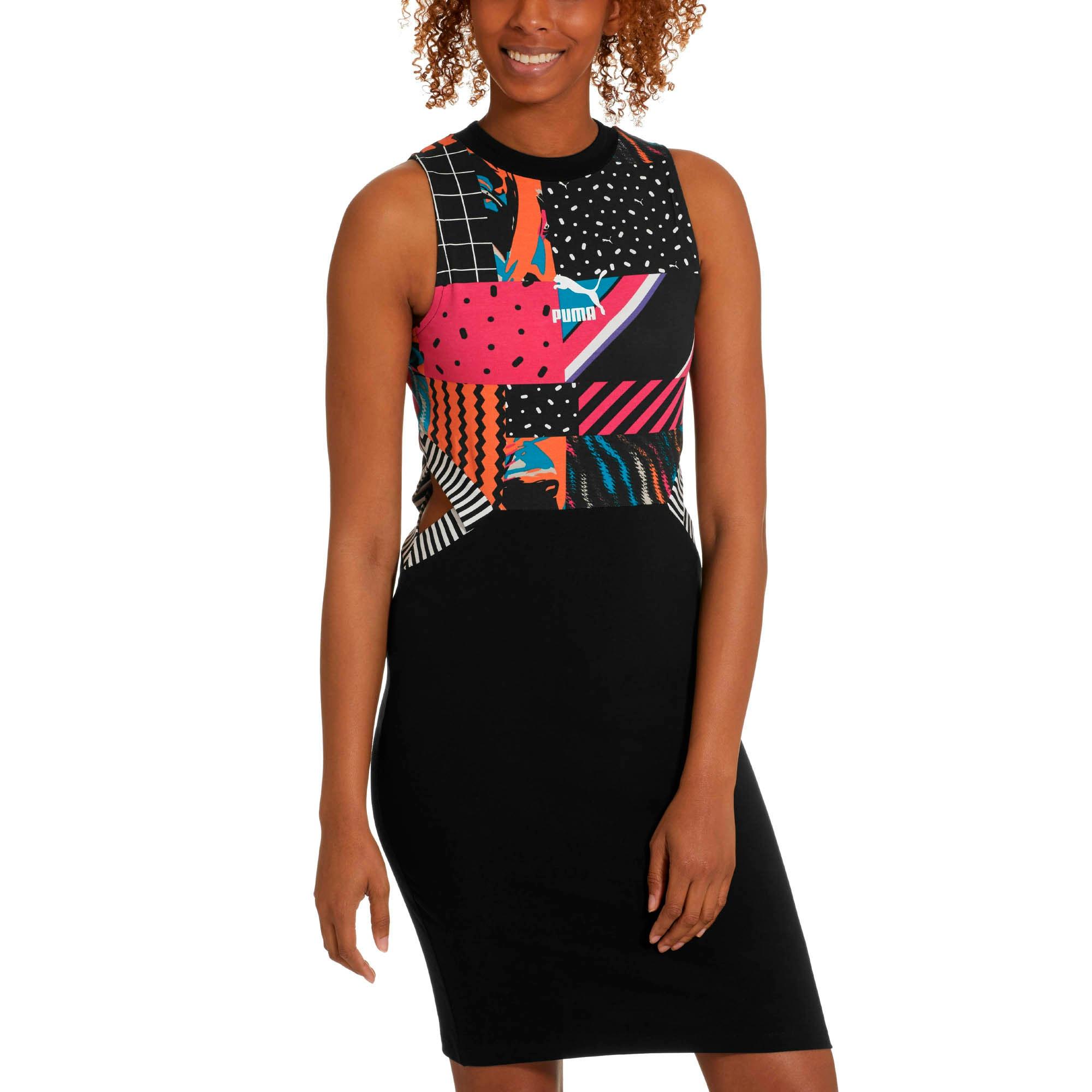 Miniatura 2 de Vestido ClashAOP para mujer, Algodón-Negro-AOP, mediano