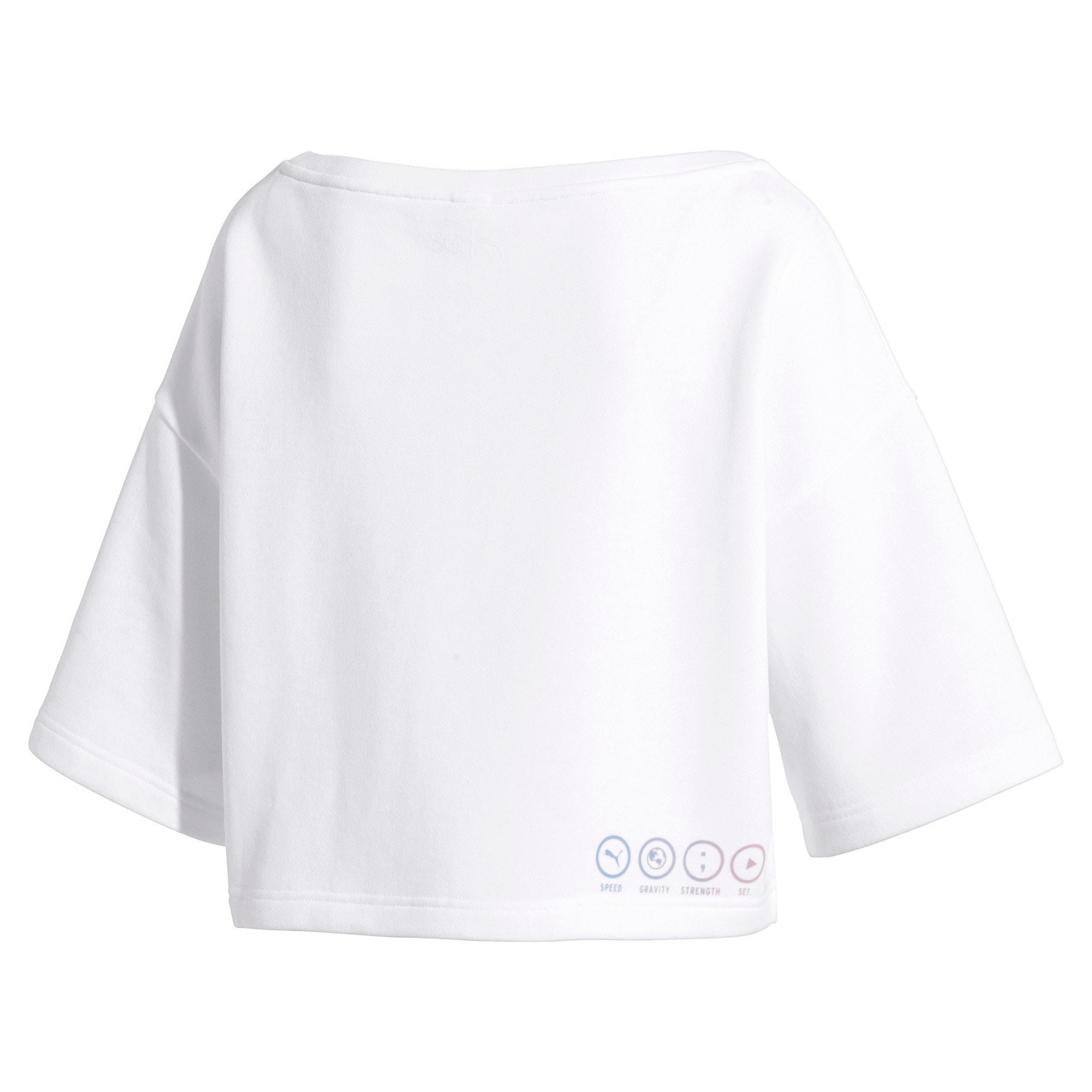 Thumbnail 5 of PUMA x SELENA GOMEZ Cropped Short Sleeve Women's Sweater, Puma White, medium