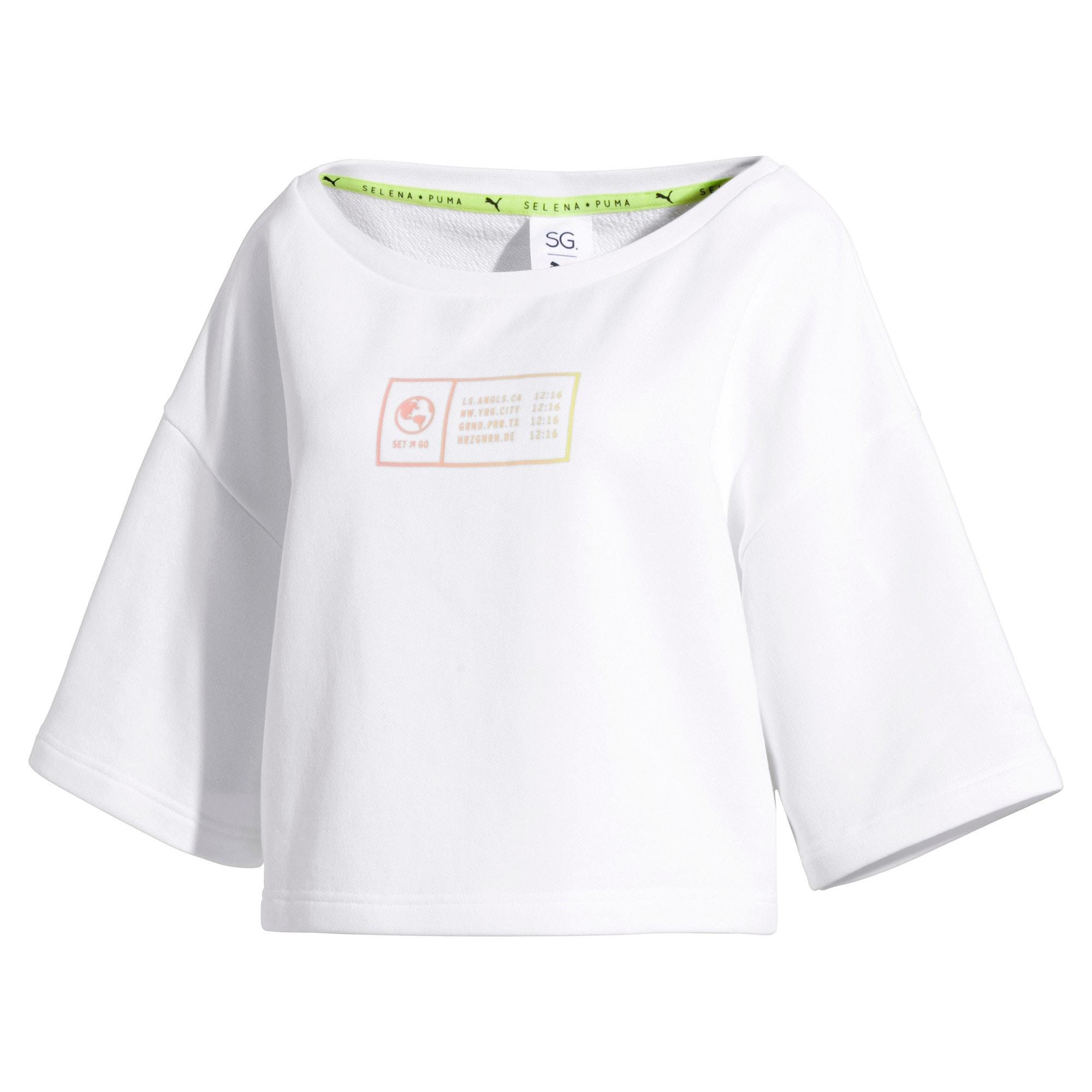 Thumbnail 4 of PUMA x SELENA GOMEZ Cropped Short Sleeve Women's Sweater, Puma White, medium