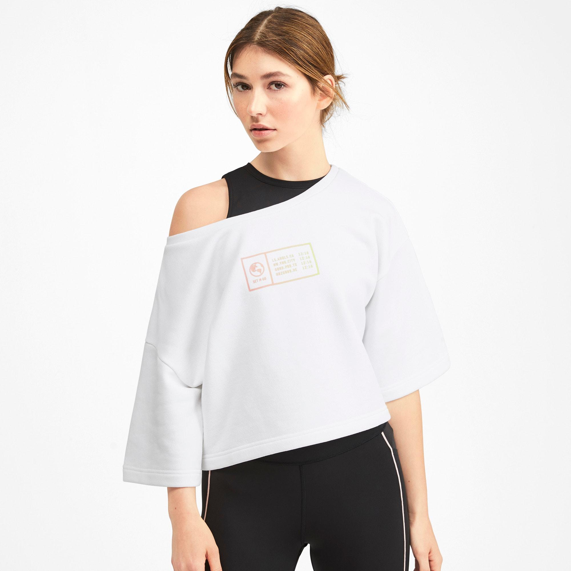 Thumbnail 1 of PUMA x SELENA GOMEZ Cropped Short Sleeve Women's Sweater, Puma White, medium