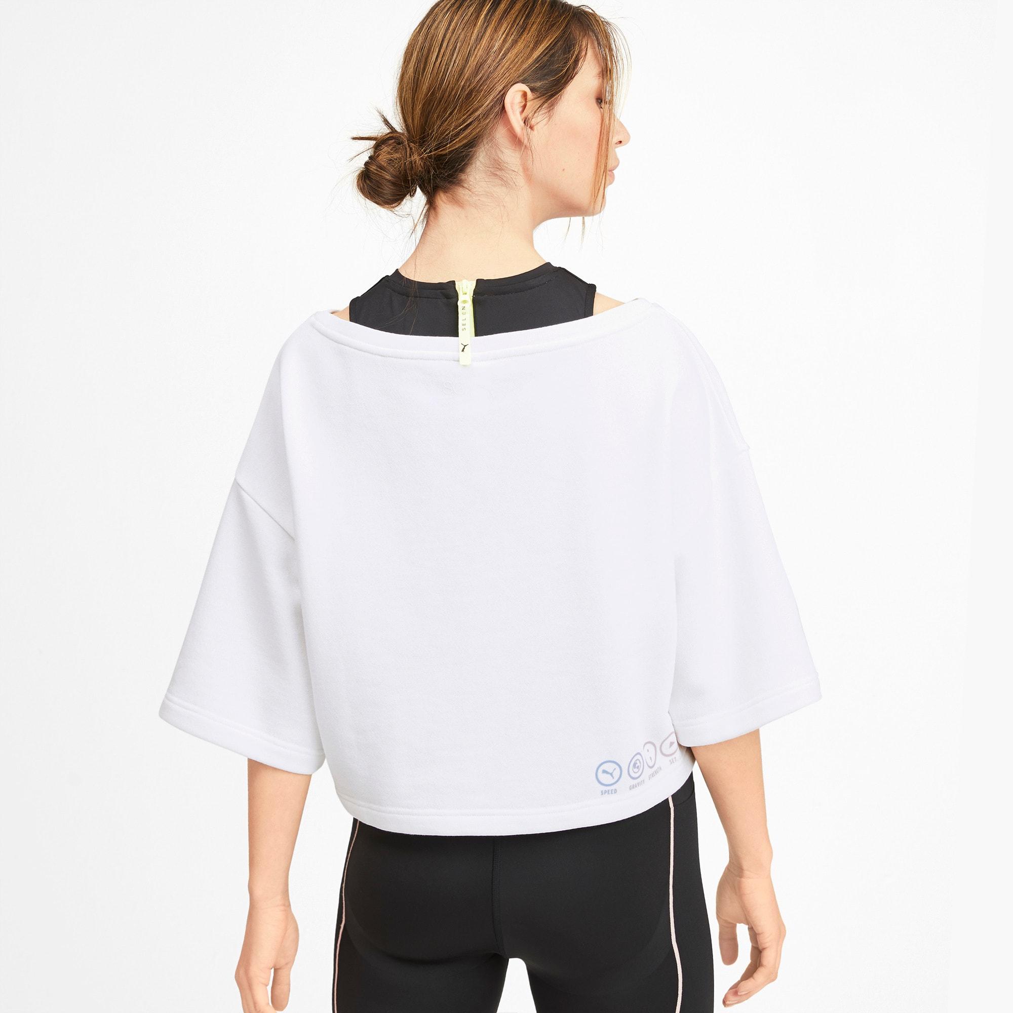 Thumbnail 2 of PUMA x SELENA GOMEZ Cropped Short Sleeve Women's Sweater, Puma White, medium