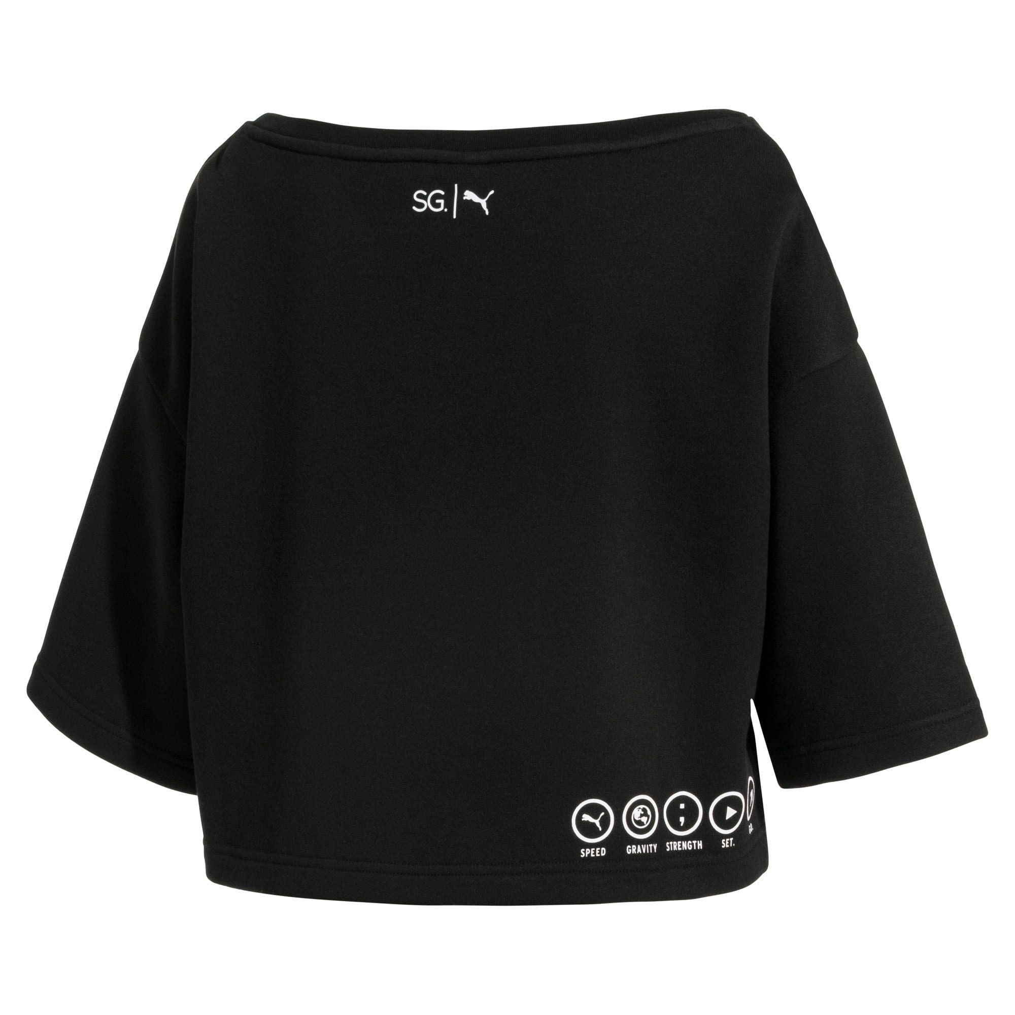 Thumbnail 5 of PUMA x SELENA GOMEZ Cropped Short Sleeve Women's Sweater, Puma Black, medium