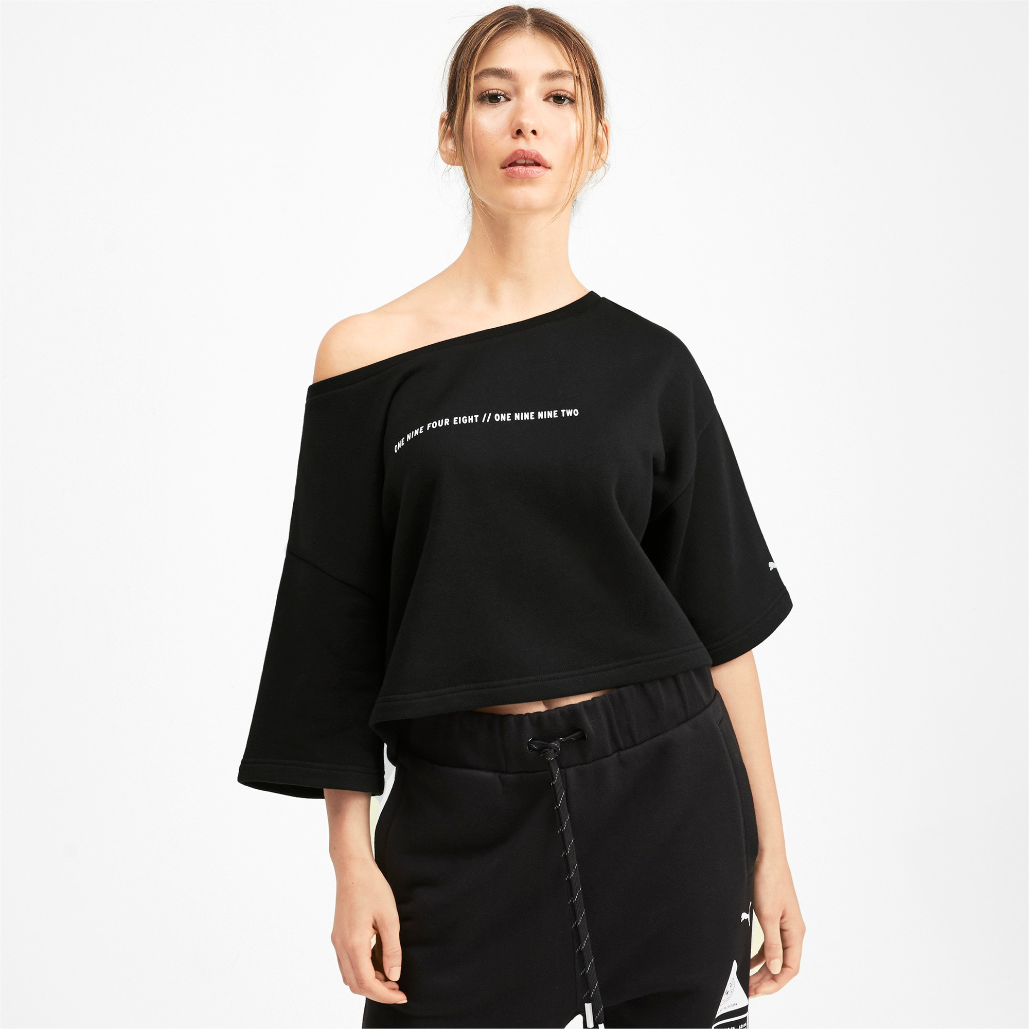 Thumbnail 1 of PUMA x SELENA GOMEZ Cropped Short Sleeve Women's Sweater, Puma Black, medium
