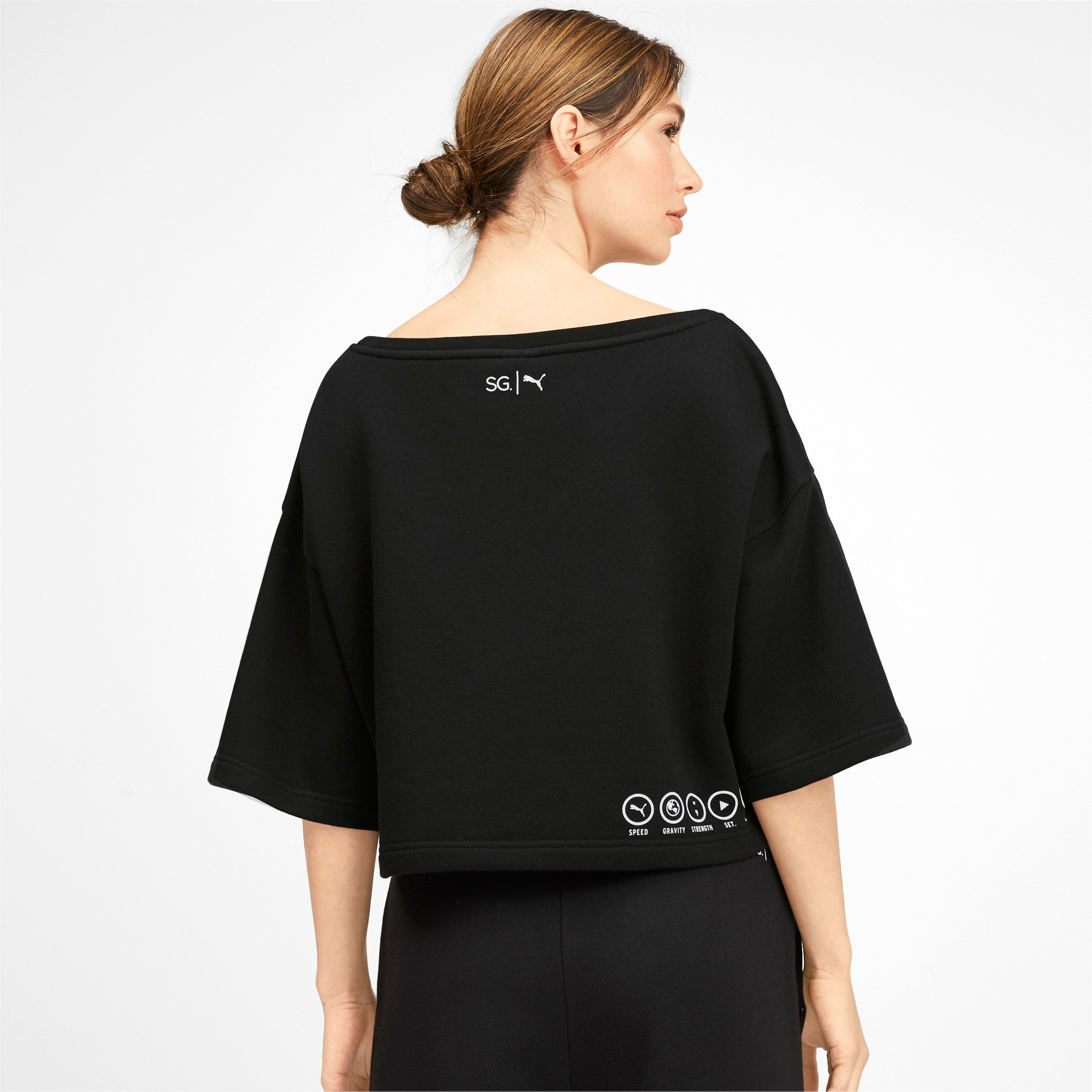 Thumbnail 2 of PUMA x SELENA GOMEZ Cropped Short Sleeve Women's Sweater, Puma Black, medium