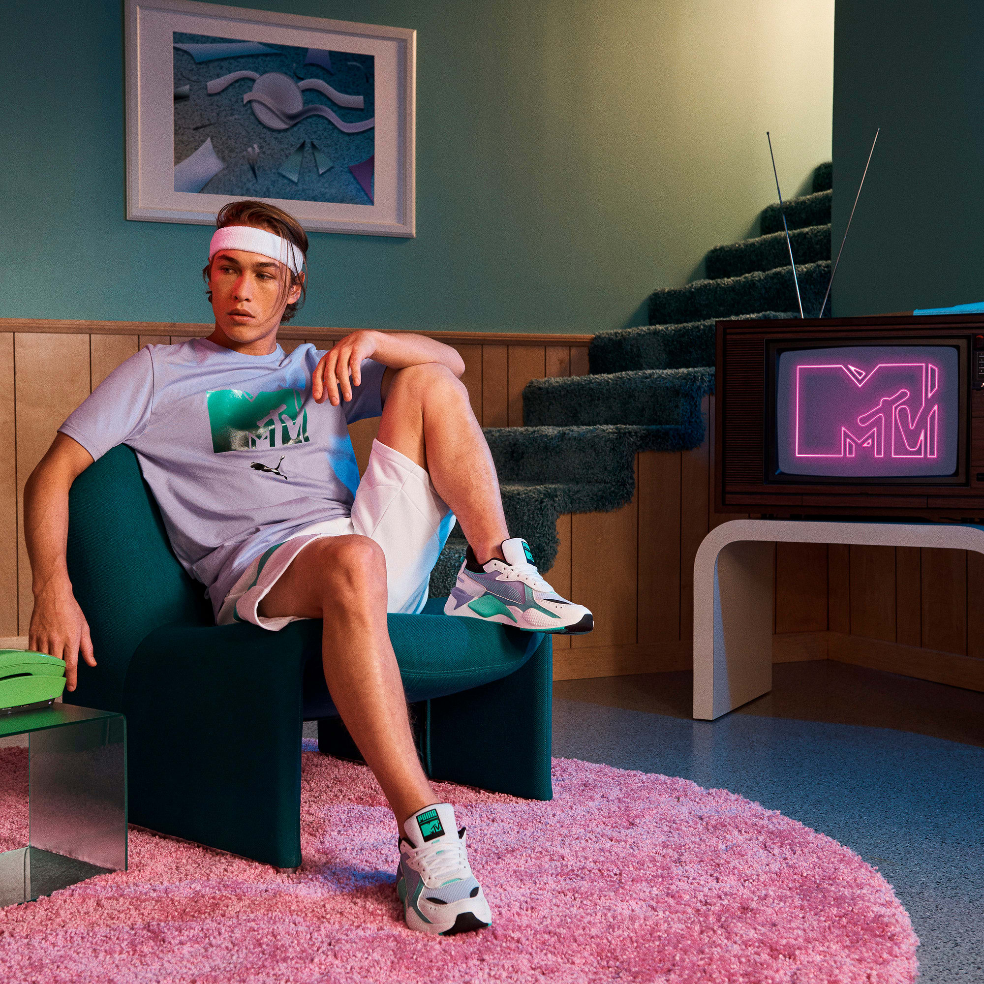 Miniatura 3 de Camiseta PUMA x MTV para hombre, Sweet Lavender, mediano