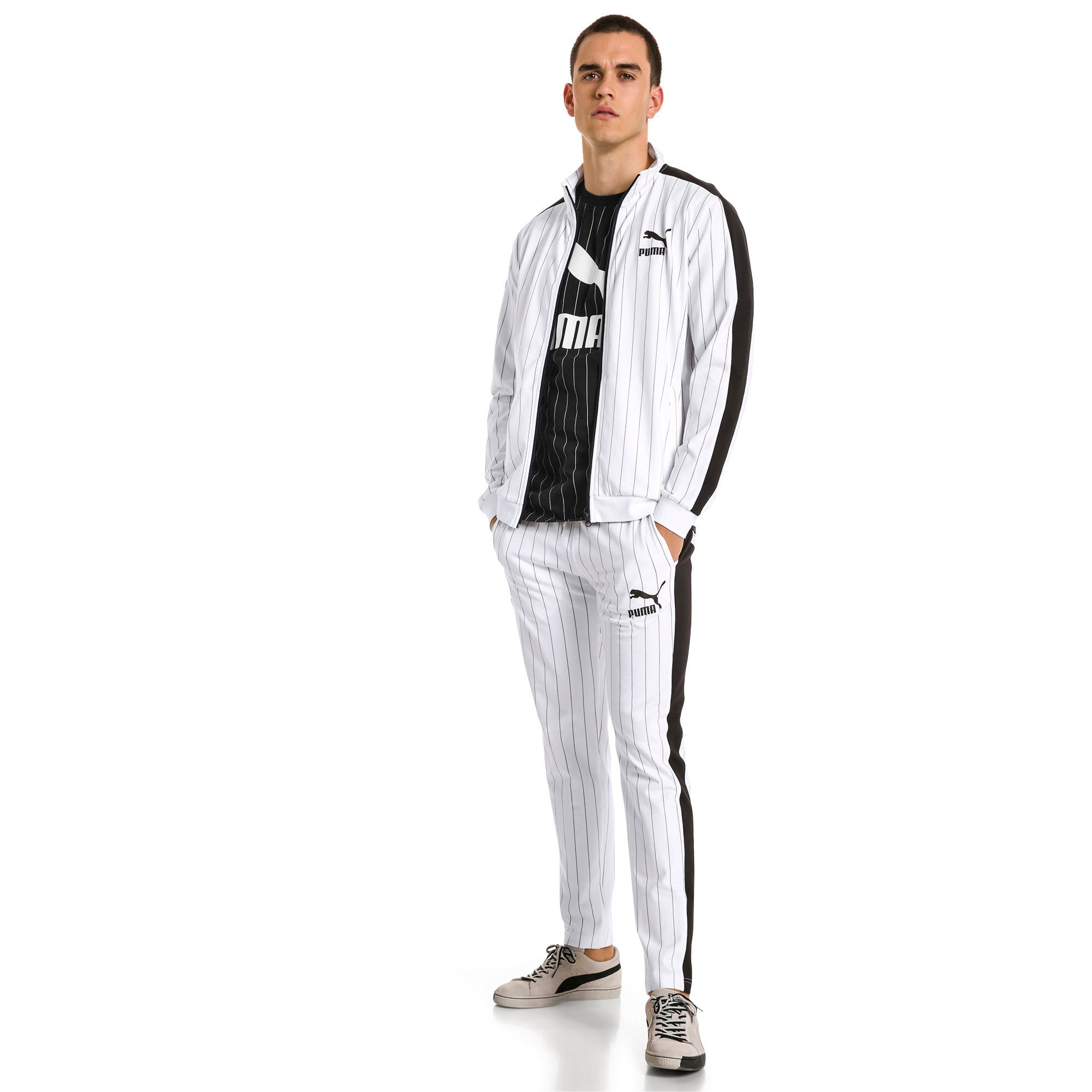 Thumbnail 5 of Archive Pinstripe T7 Men's Track Pants, Puma White-AOP, medium