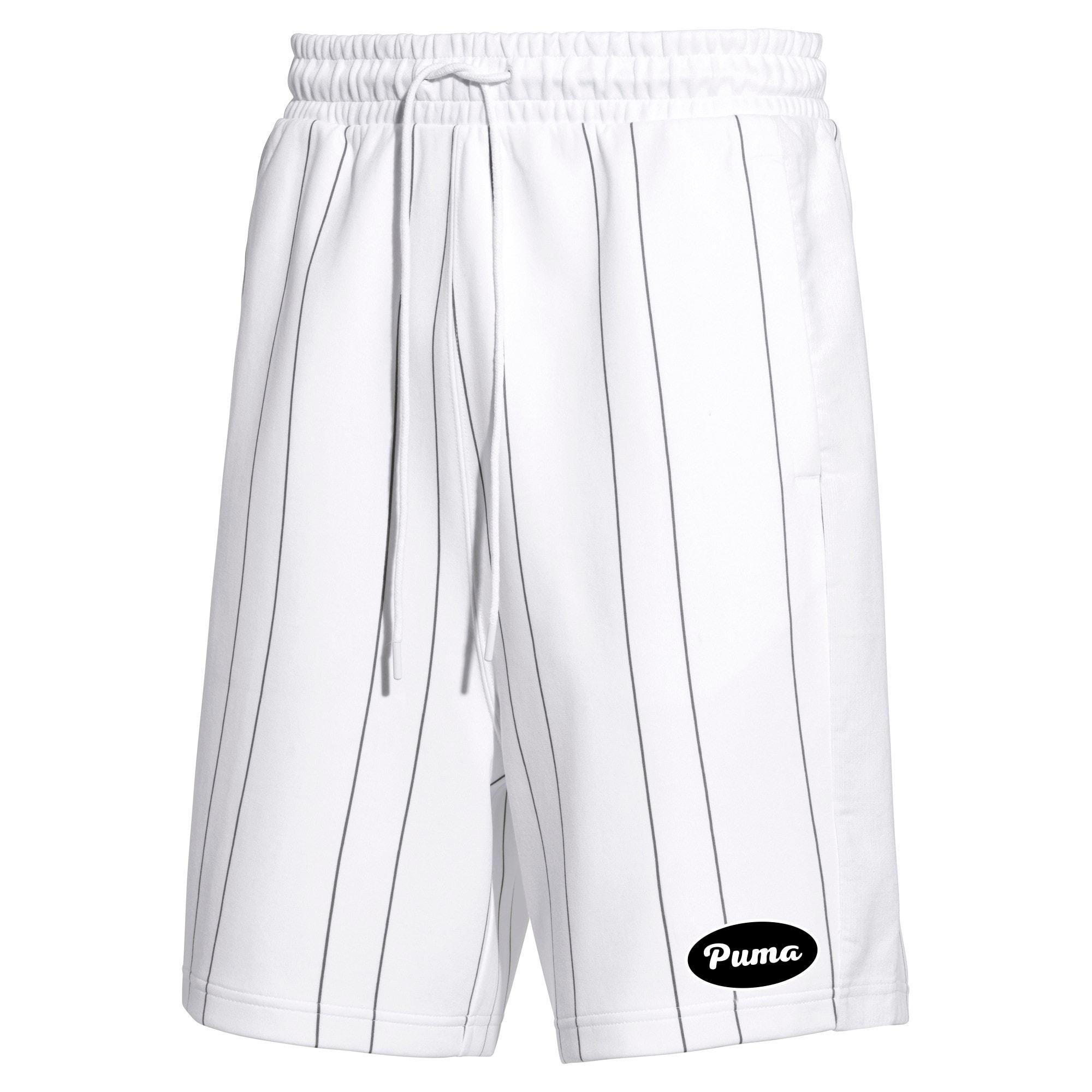 Thumbnail 1 of PUMA 91074 Men's Striped Shorts, Puma White--AOP, medium