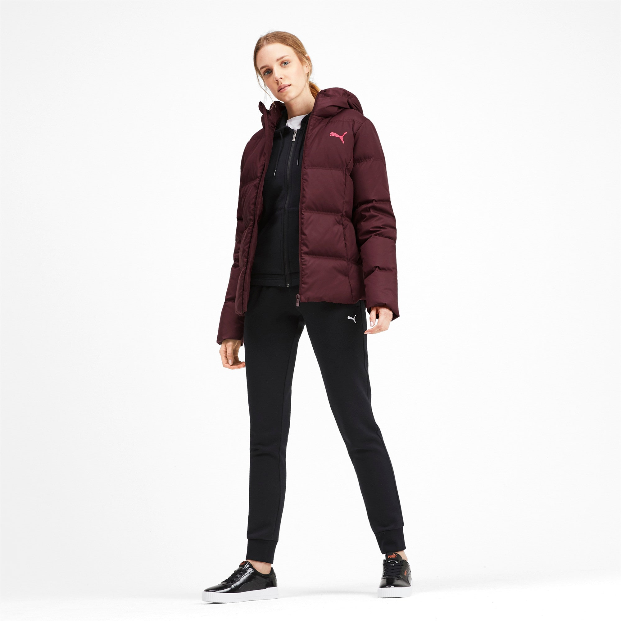 Thumbnail 3 of Essentials 400 Down Hooded Women's Jacket, Vineyard Wine, medium