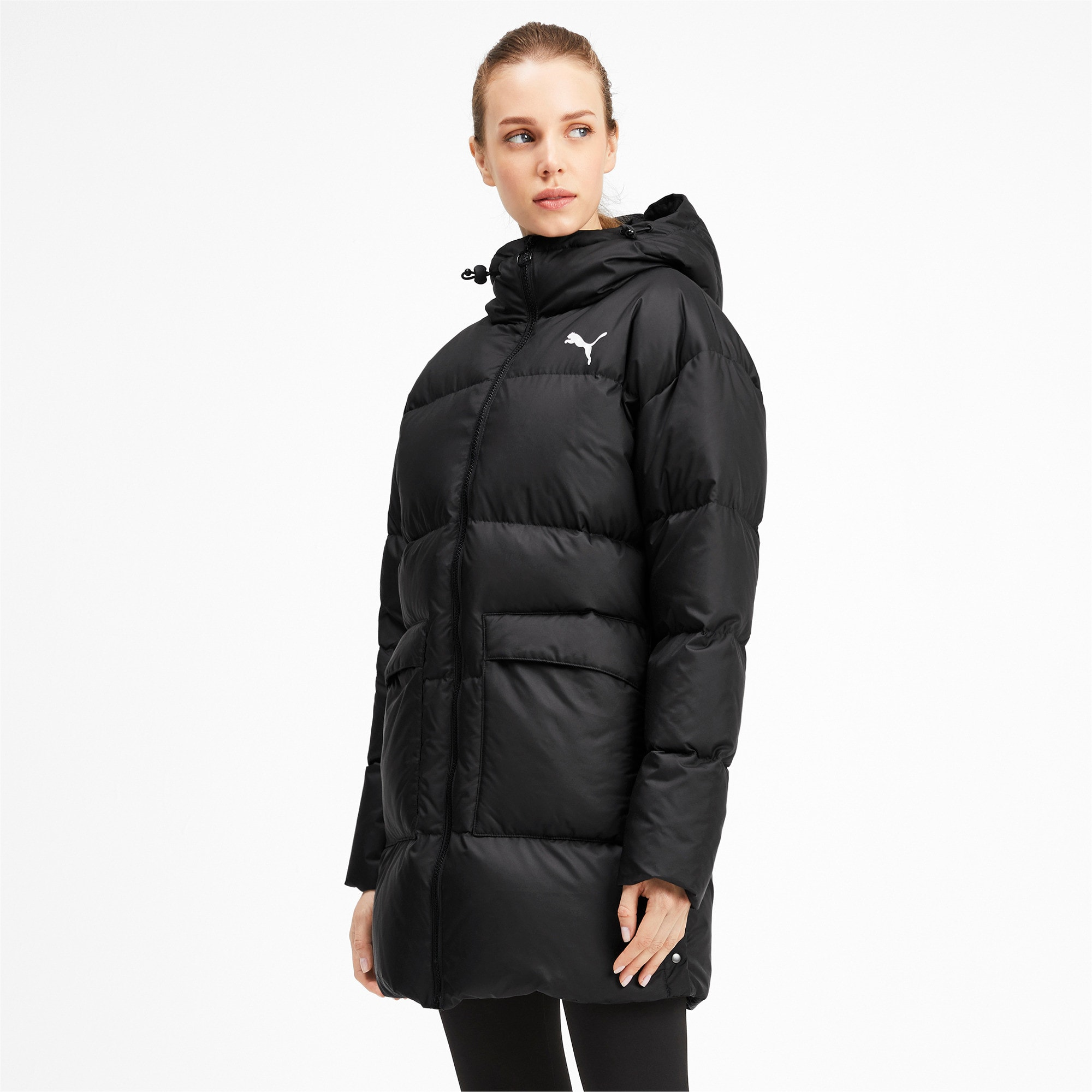 Thumbnail 1 of 450 Long Hooded Down Women's Coat, Puma Black, medium
