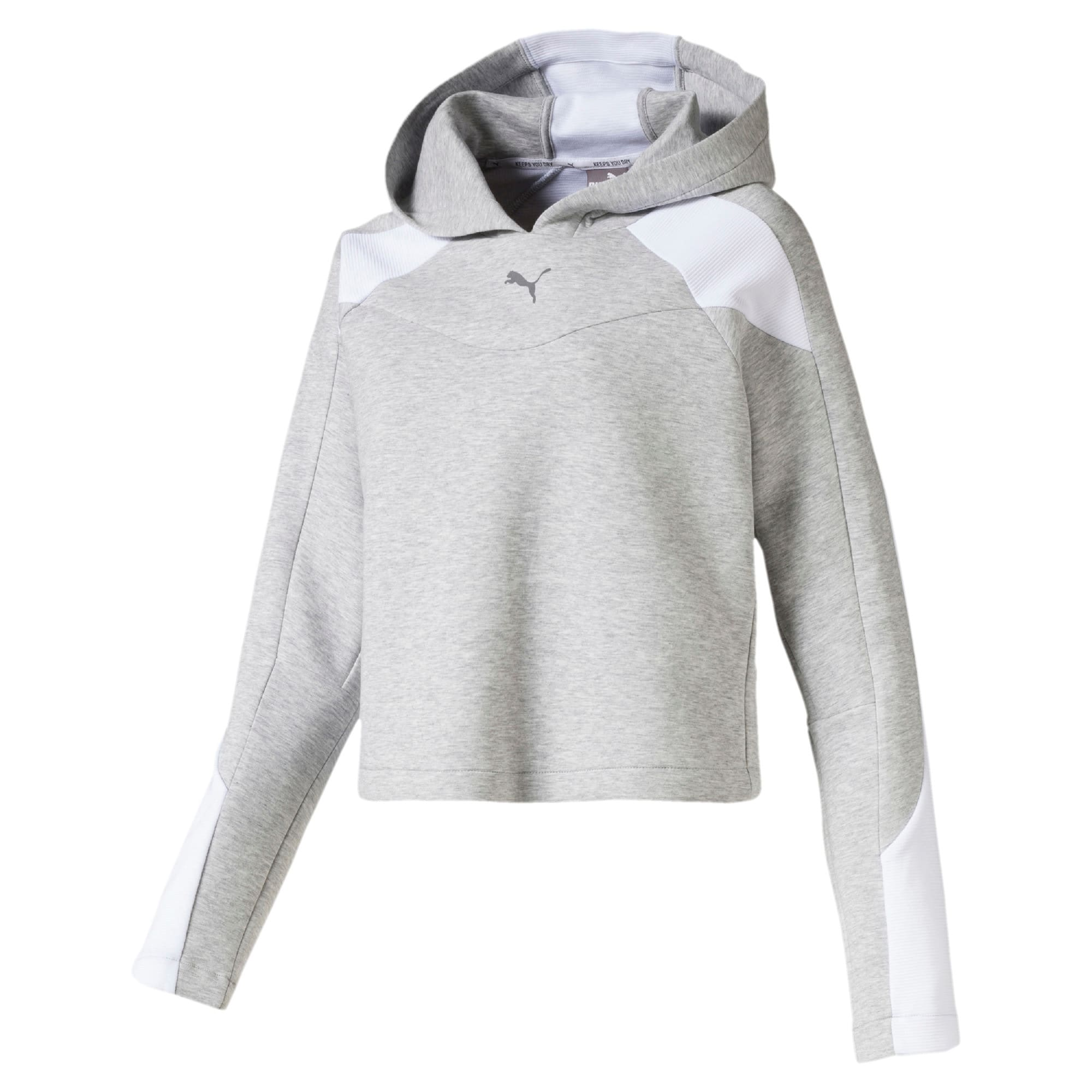 Thumbnail 4 of Evostripe Long Sleeve Women's Hoodie, Light Gray Heather, medium