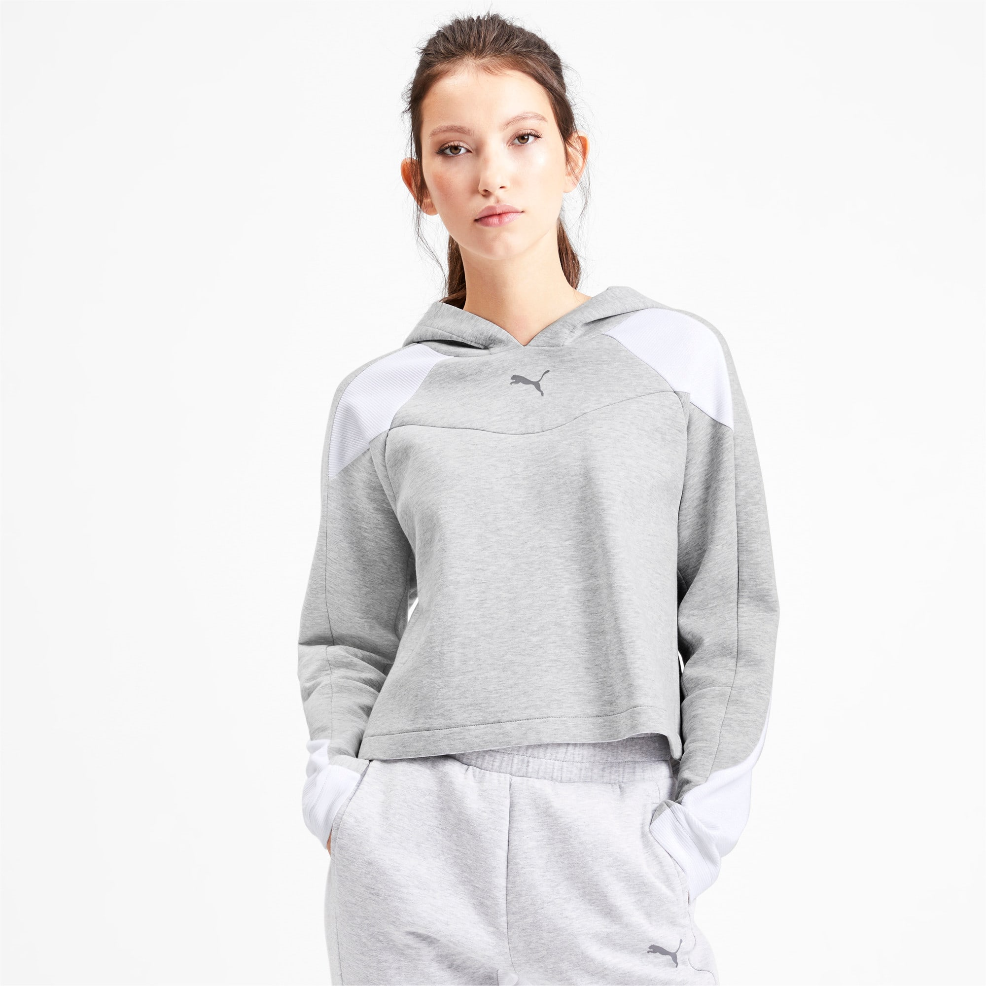 Thumbnail 1 of Evostripe Long Sleeve Women's Hoodie, Light Gray Heather, medium