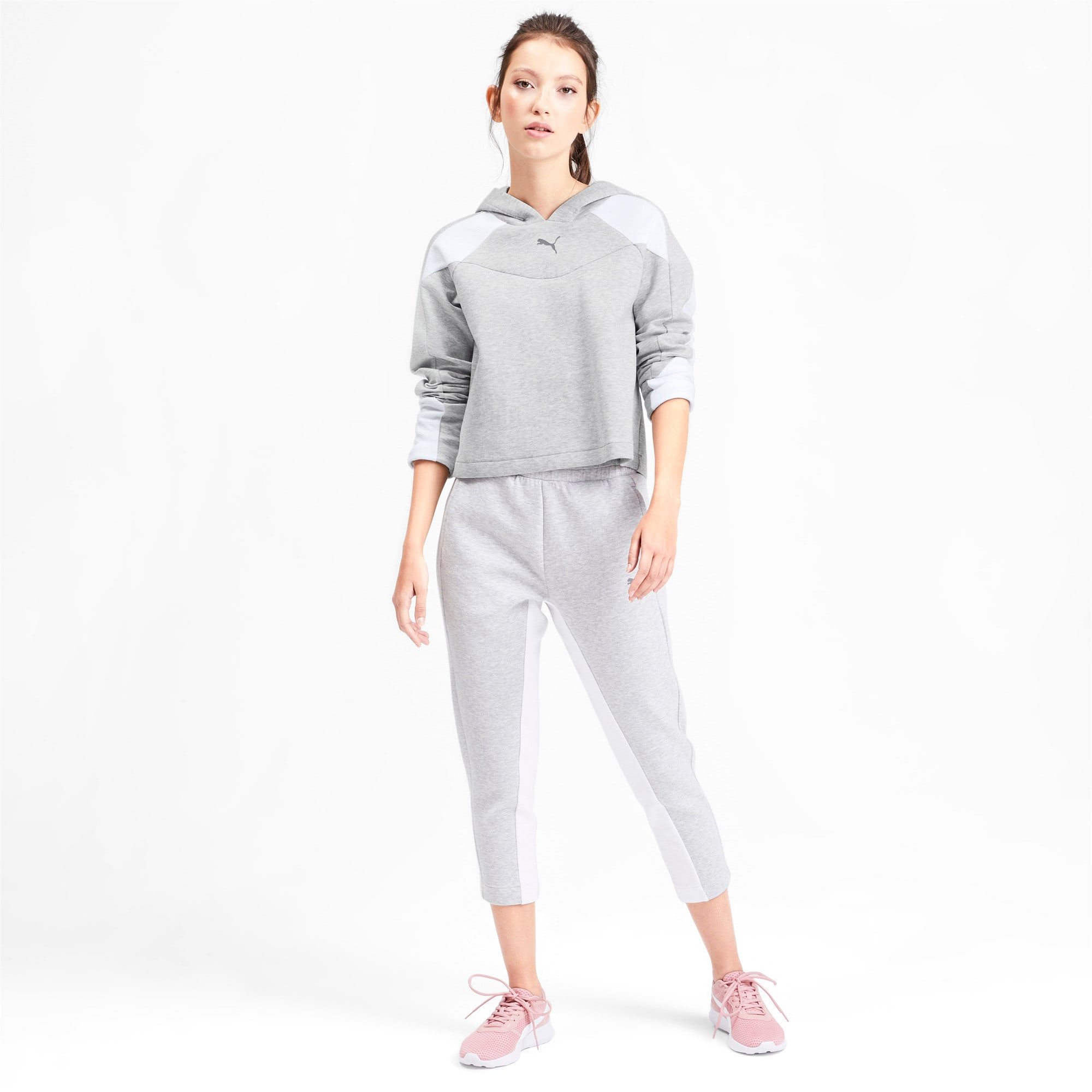 Thumbnail 3 of Evostripe Long Sleeve Women's Hoodie, Light Gray Heather, medium