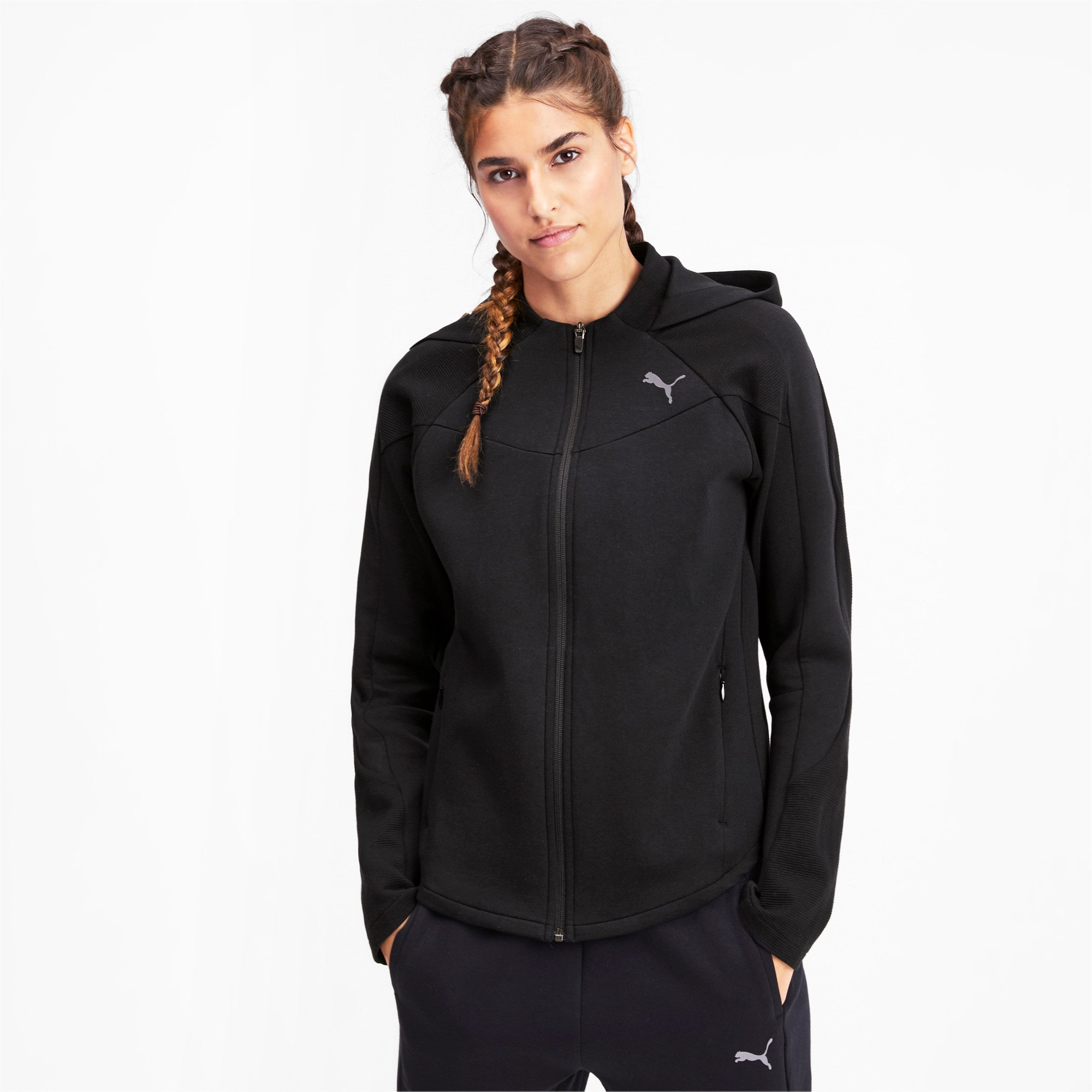 Thumbnail 1 of Evostripe Damen Sweatjacke mit Kapuze, Puma Black, medium