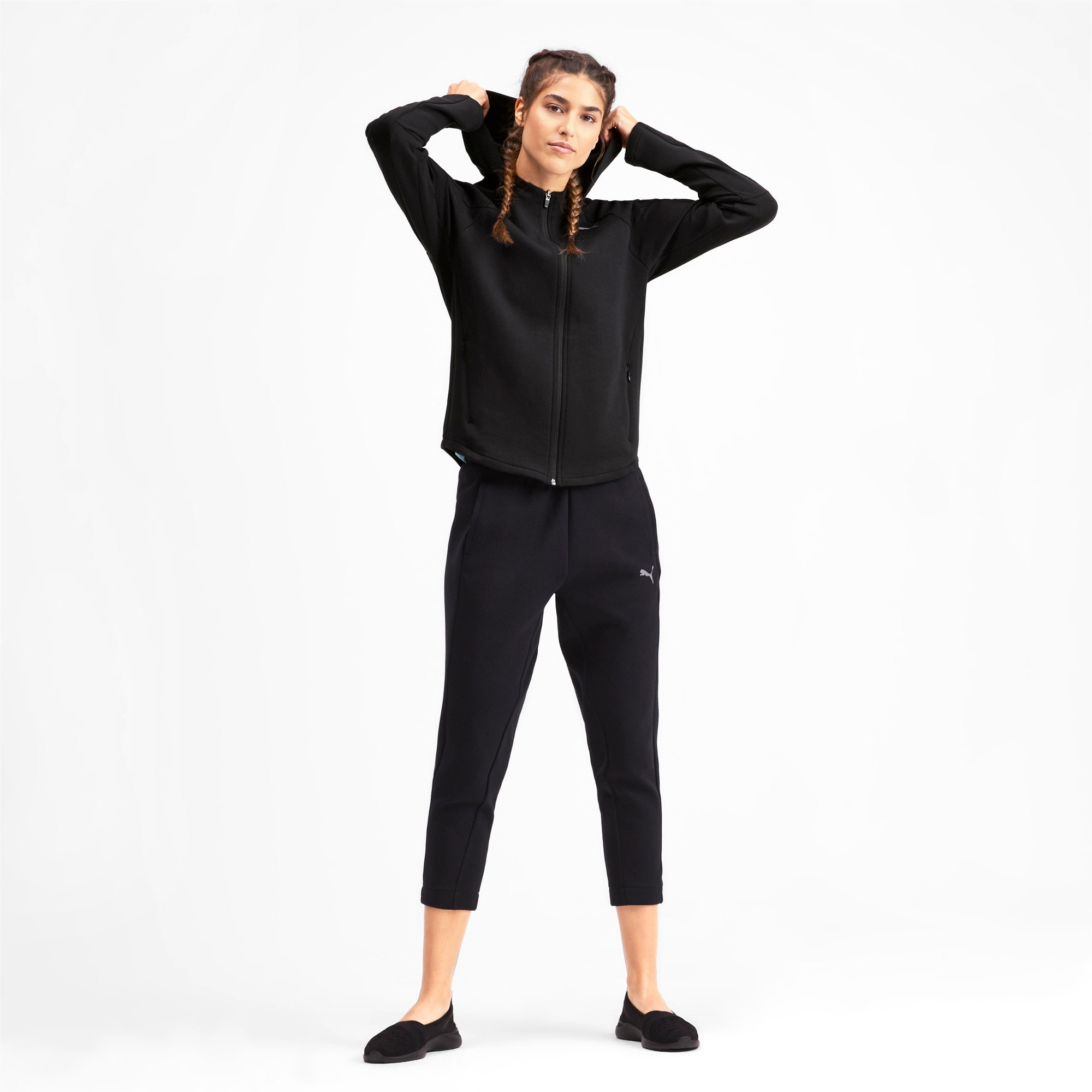 Thumbnail 3 of Evostripe Damen Sweatjacke mit Kapuze, Puma Black, medium