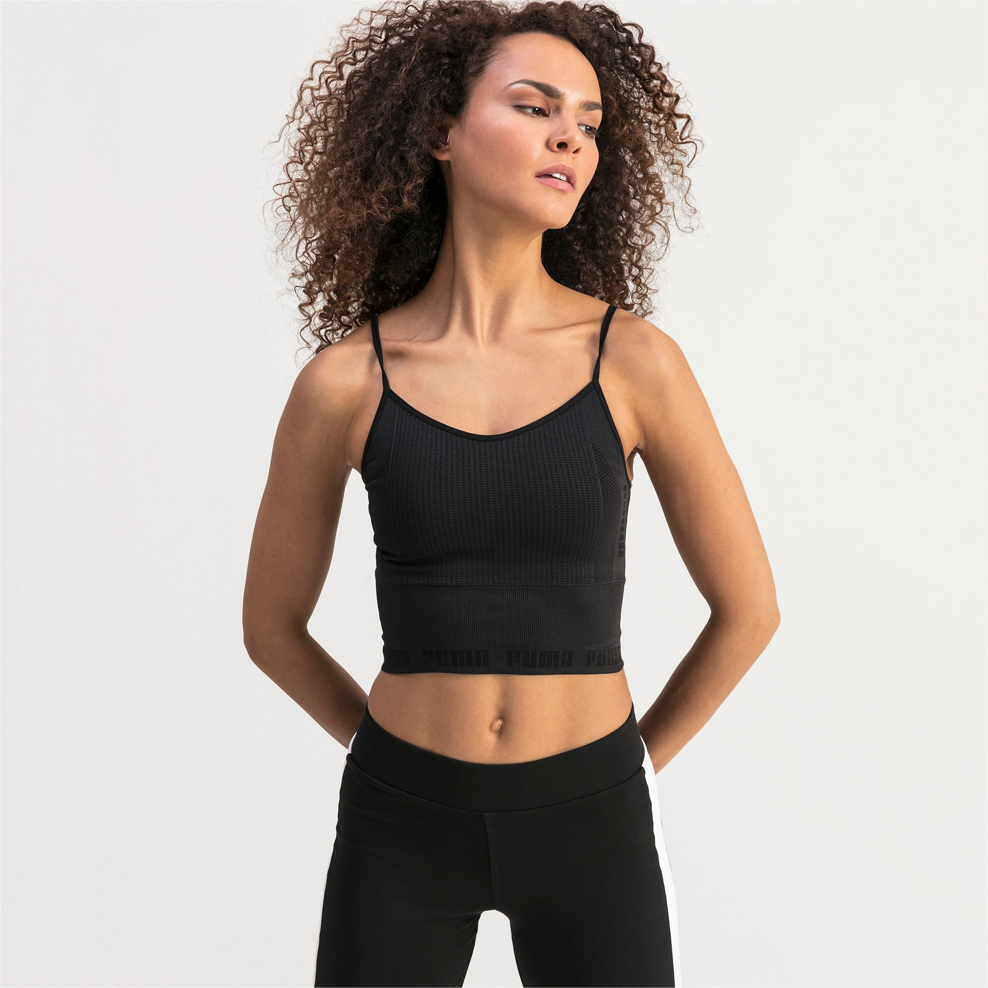 Thumbnail 1 of evoKNIT Seamless Women's Crop Top, Puma Black, medium